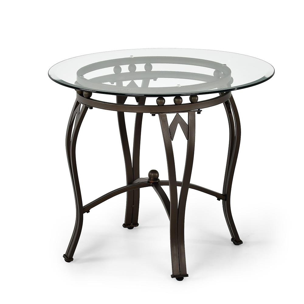 madrid glass and metal end table the tables black with top pipe stool lexington round dining vintage ethan allen furniture circular small kitchen magnolia farms merchandise wood