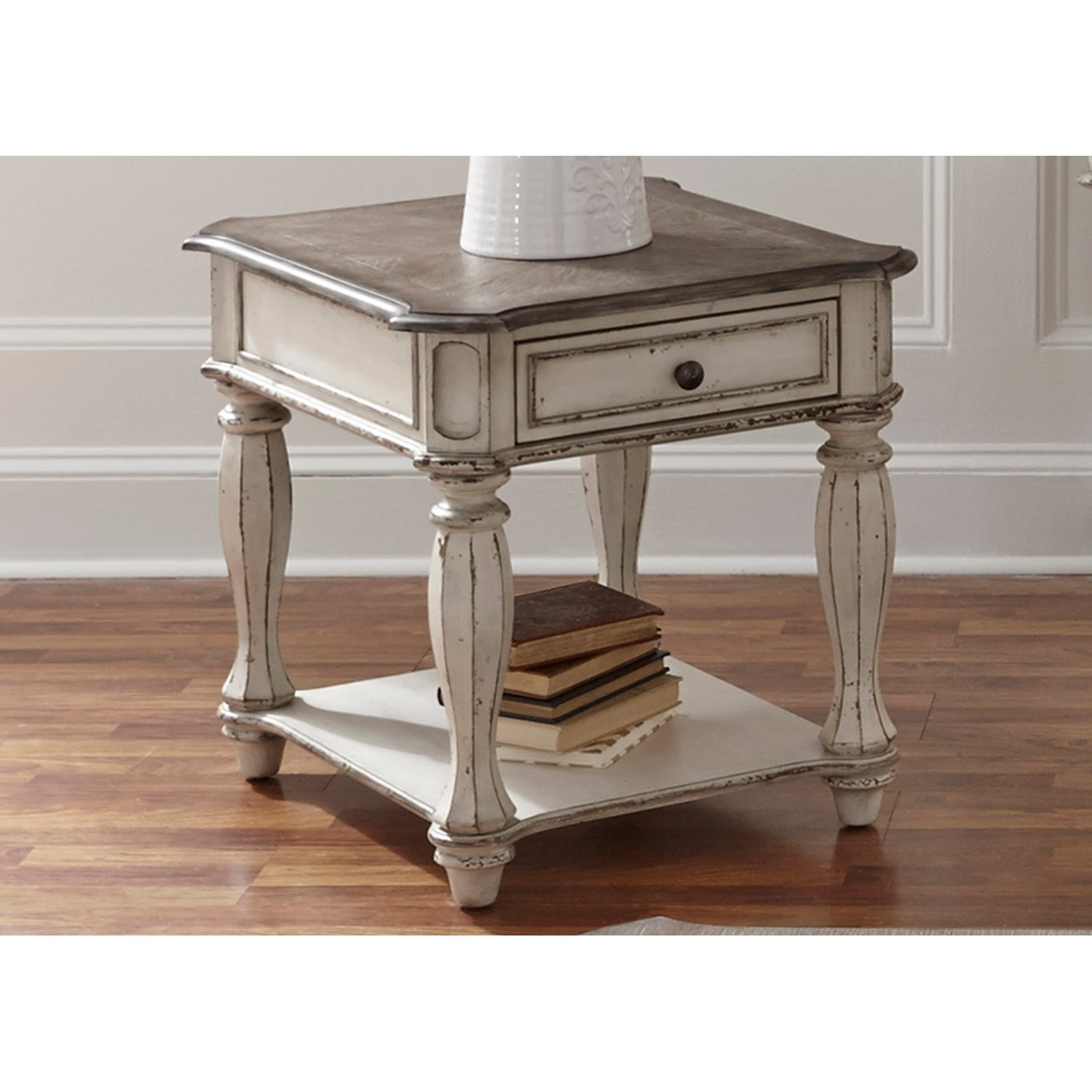 magnolia manor antique white end table free thomasville furniture alpharetta elegant round glass top dining chrome corner ashley porter panel corley sofa outdoor keter cool bar