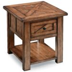 magnussen home harper farm country industrial end table with drawer products color furniture tables oak sofa side metal patio unfinished entertainment center cabinets mainstays 150x150
