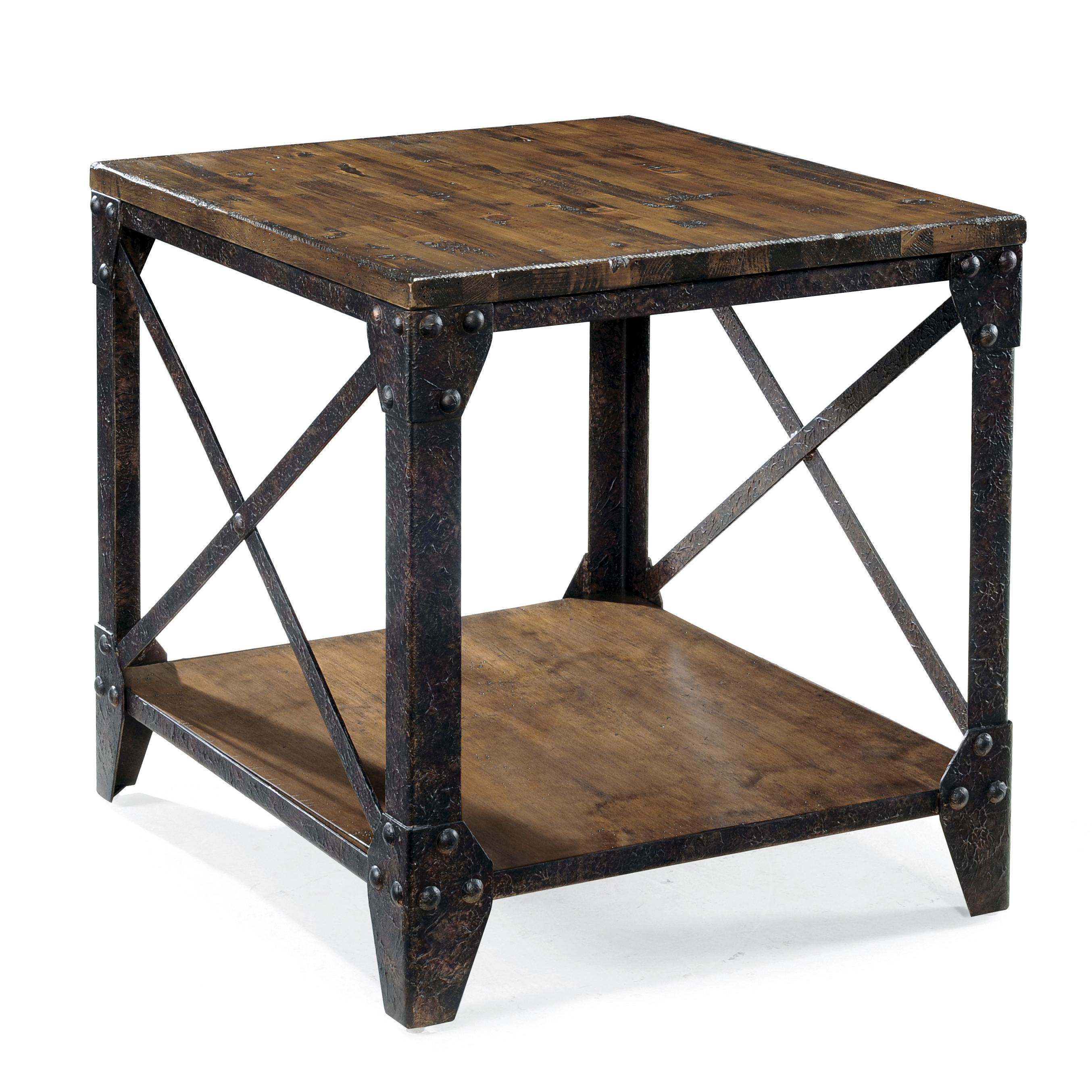 magnussen home pinebrook rectangular end table with rustic products color furniture tables iron legs solid oak storage coffee mosaic top patio side matching cast dining inch round