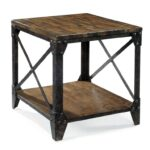 magnussen home pinebrook rectangular end table with rustic products color iron legs luxury tables non matching sofas living room homesense eglinton and laird riverside furniture 150x150