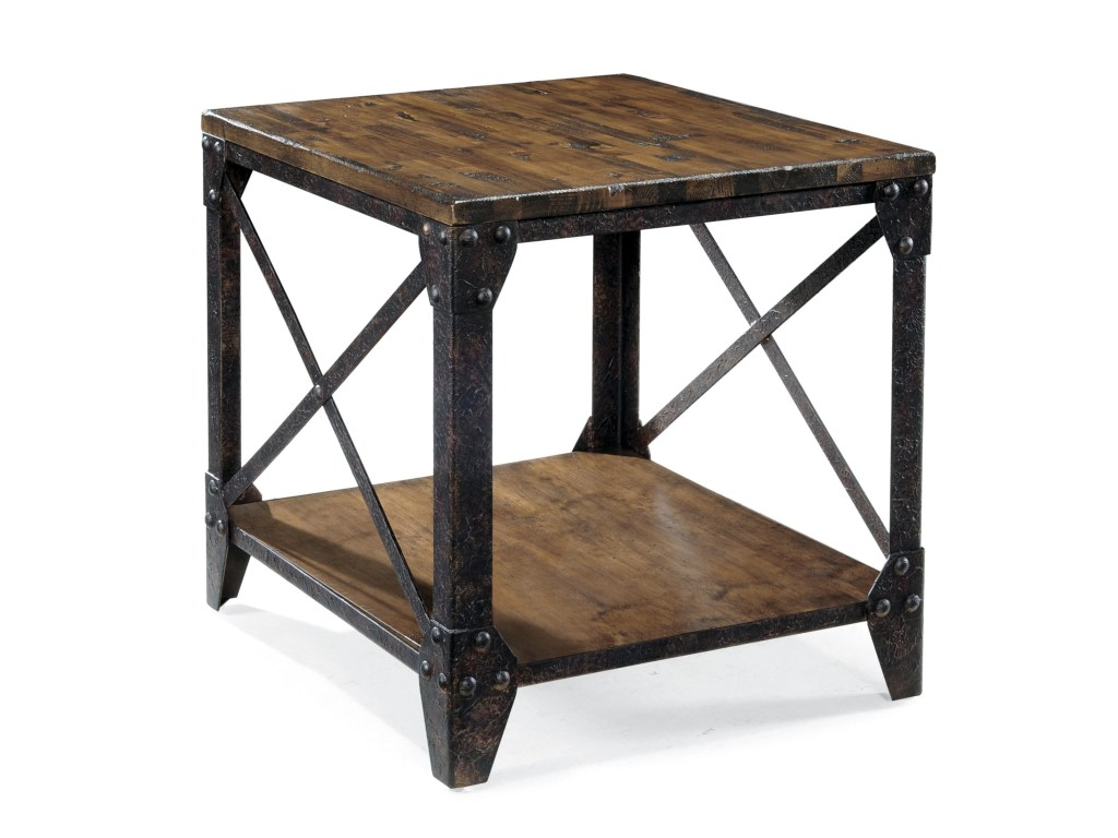magnussen home pinebrook rectangular end table with rustic products color iron legs luxury tables non matching sofas living room homesense eglinton and laird riverside furniture