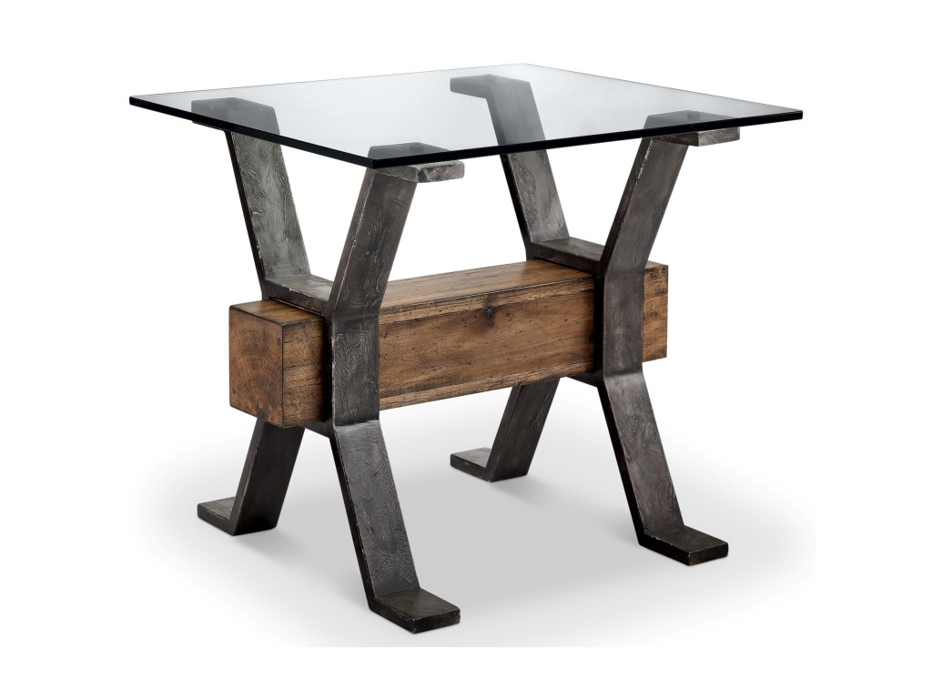 magnussen home sawyer industrial end table with products color furniture tables reclaimed wood stretcher nesting calgary metal tray coffee golden oak whalen mfg inc unfinished