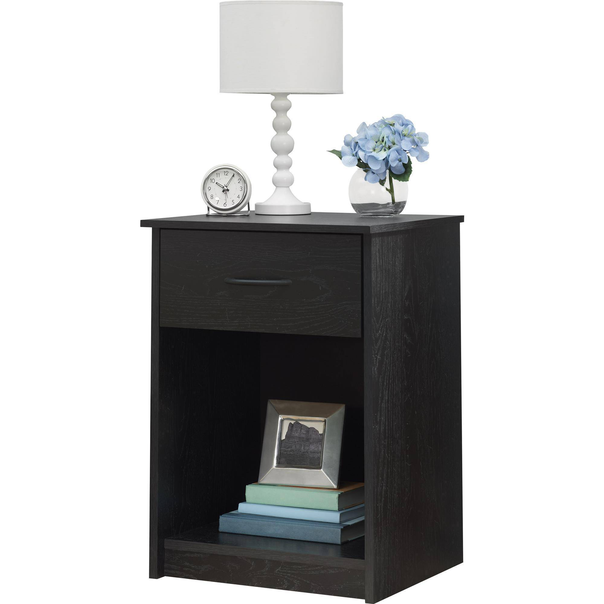 mainstays drawer nightstand end table black ebony ash elegant round glass top dining when does big lots close home furniture melbourne pulaski san mateo miami dolphins gaming