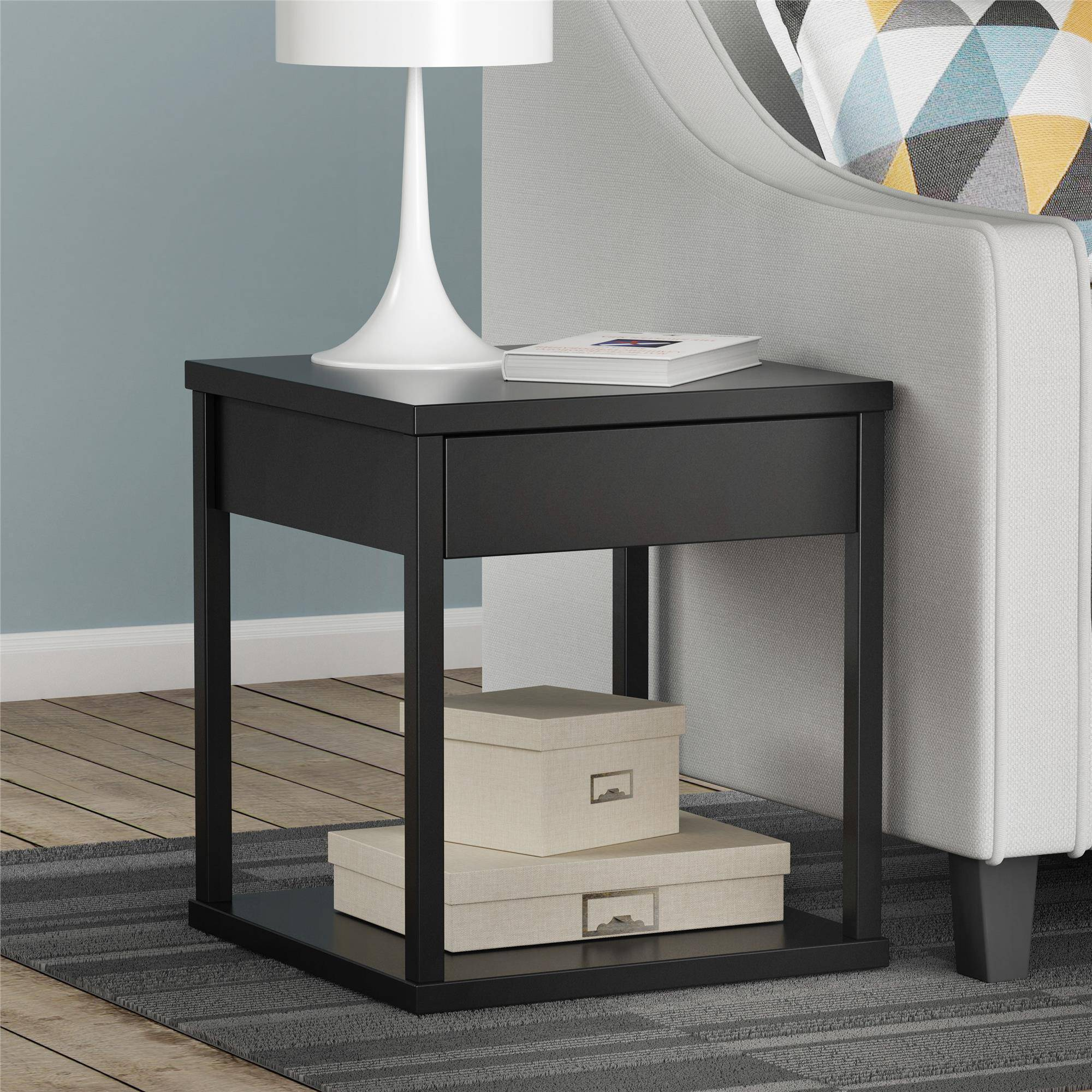 mainstays drawer nightstand end table black ebony ash oak finish silver drum shabby chic coffee and tables thomasville mahogany bedroom furniture small dark wood inch glass top