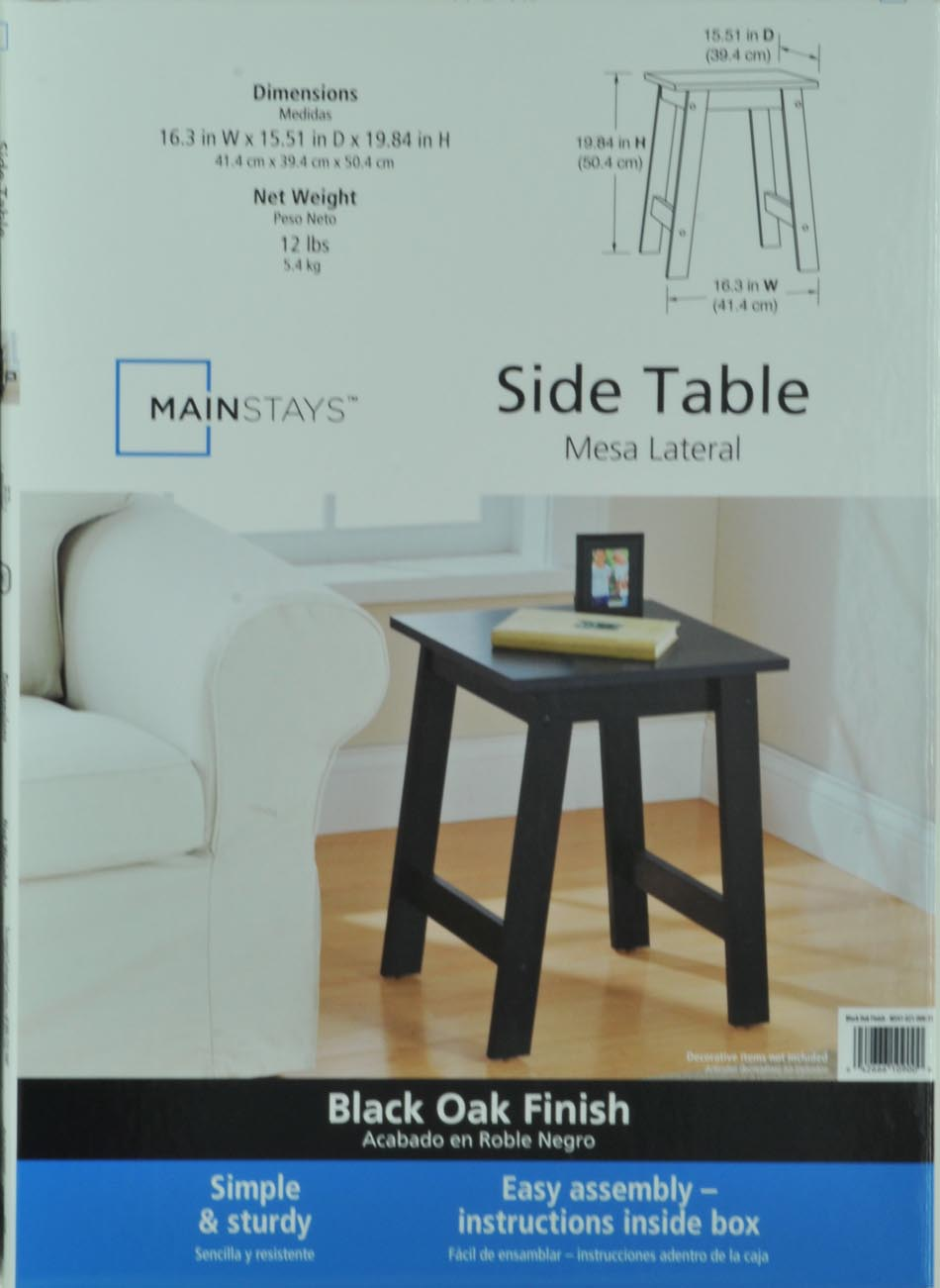mainstays end table black oak finish assembly instructions oversized coffee with storage modern lamps magnolia home furniture line gray chairs kmart kitchen red for living room