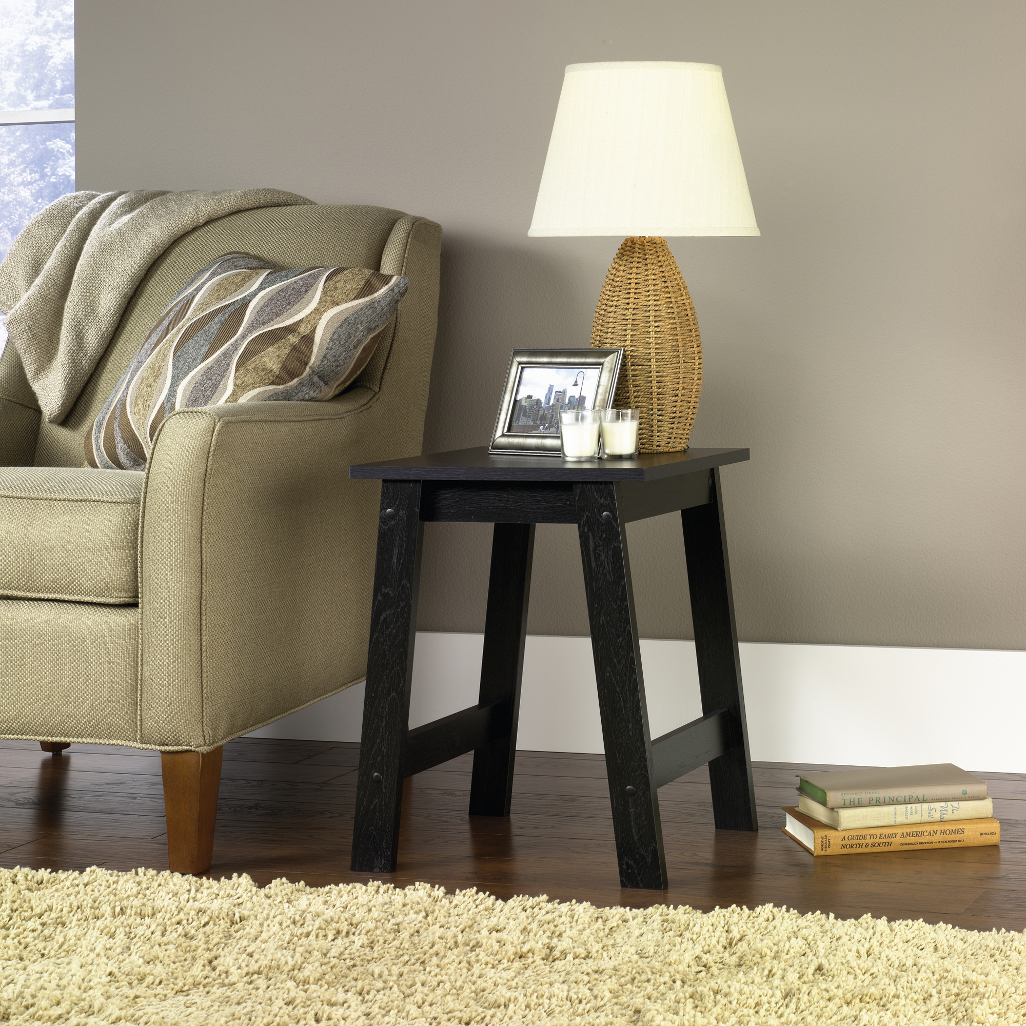 mainstays end table black oak finish departments high side tables affordable contemporary furniture shabby chic coffee and ethan allen country craftsman homesense bedding sets for
