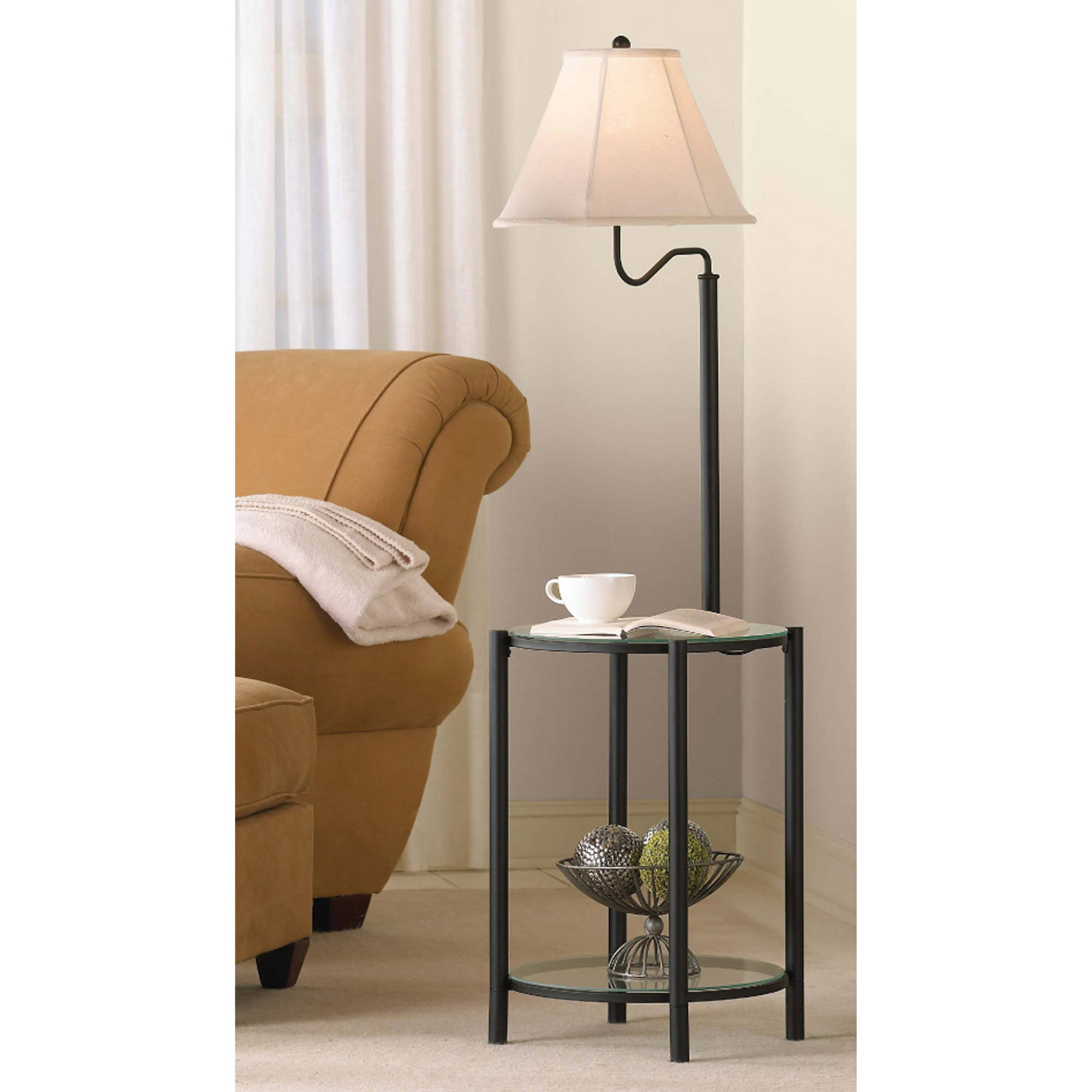 mainstays glass end table floor lamp matte black cfl bulb included combinations metal scroll coffee gold side modern royal furniture delivery thomasville chairs white dark brown