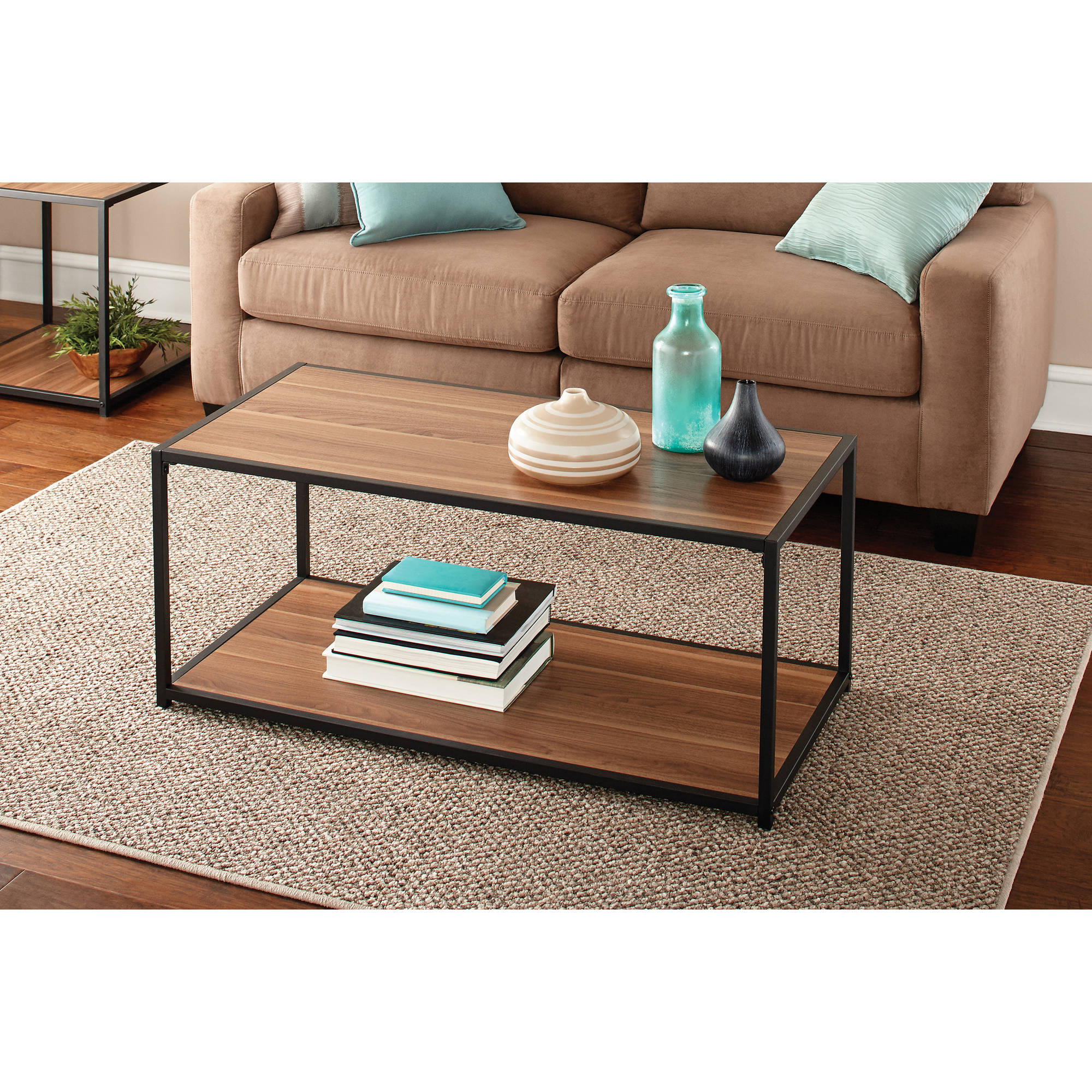 mainstays metro coffee table multiple finishes end black oak finish silver floor lamp ashley furniture glass replacement modern tray top and tables for dark brown couch ikea
