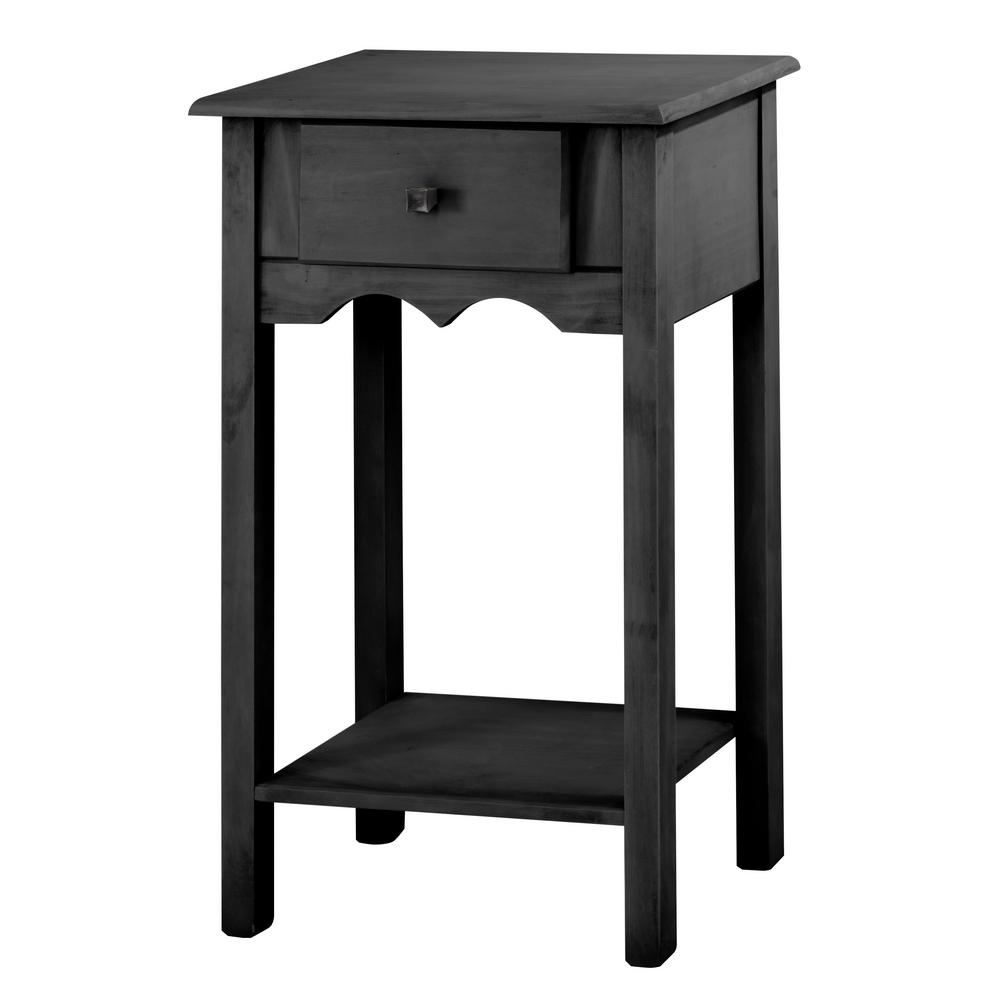 manhattan comfort jay tall black wash end table with matte tables full extension drawer bear creek furniture distressed wood coffee set cherry magazine cleaning pipe wrought iron