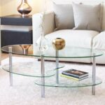 mecor glass coffee table with tier tempered end tables and boards sturdy chrome stainless steel legs transparent oval tea for sauder cherry furniture solar powered outdoor lights 150x150