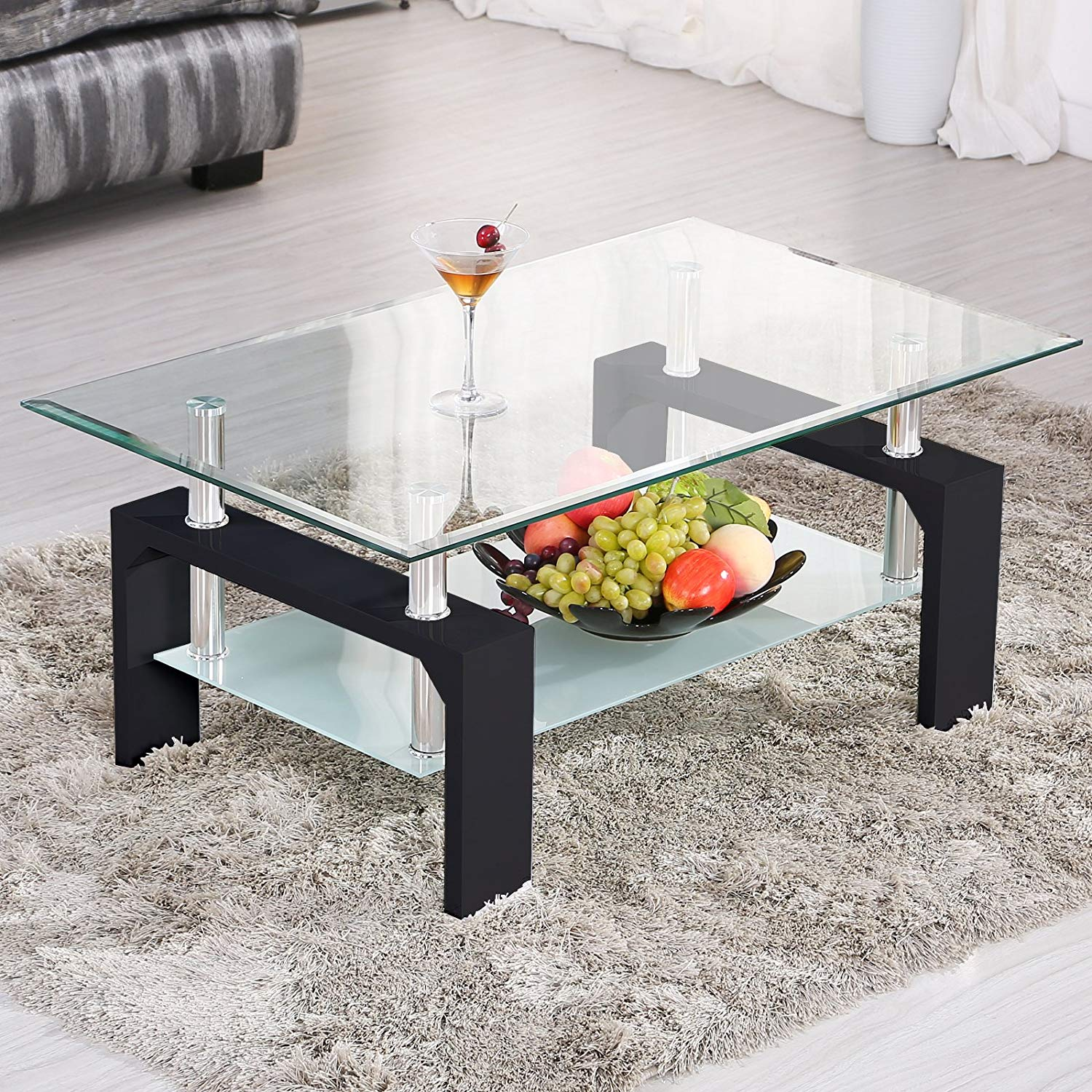 mecor rectangle glass coffee table modern side end tables with lower shelf black wooden legs suit for living room kitchen dining white corner square and bennett sofa review round