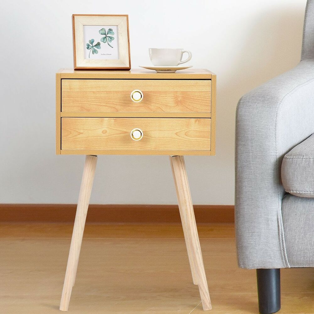 mid century modern drawers nightstand side end table wood bedroom furniture tables details about homesense throw pillows ese coffee kmart dining room riverside placid cove