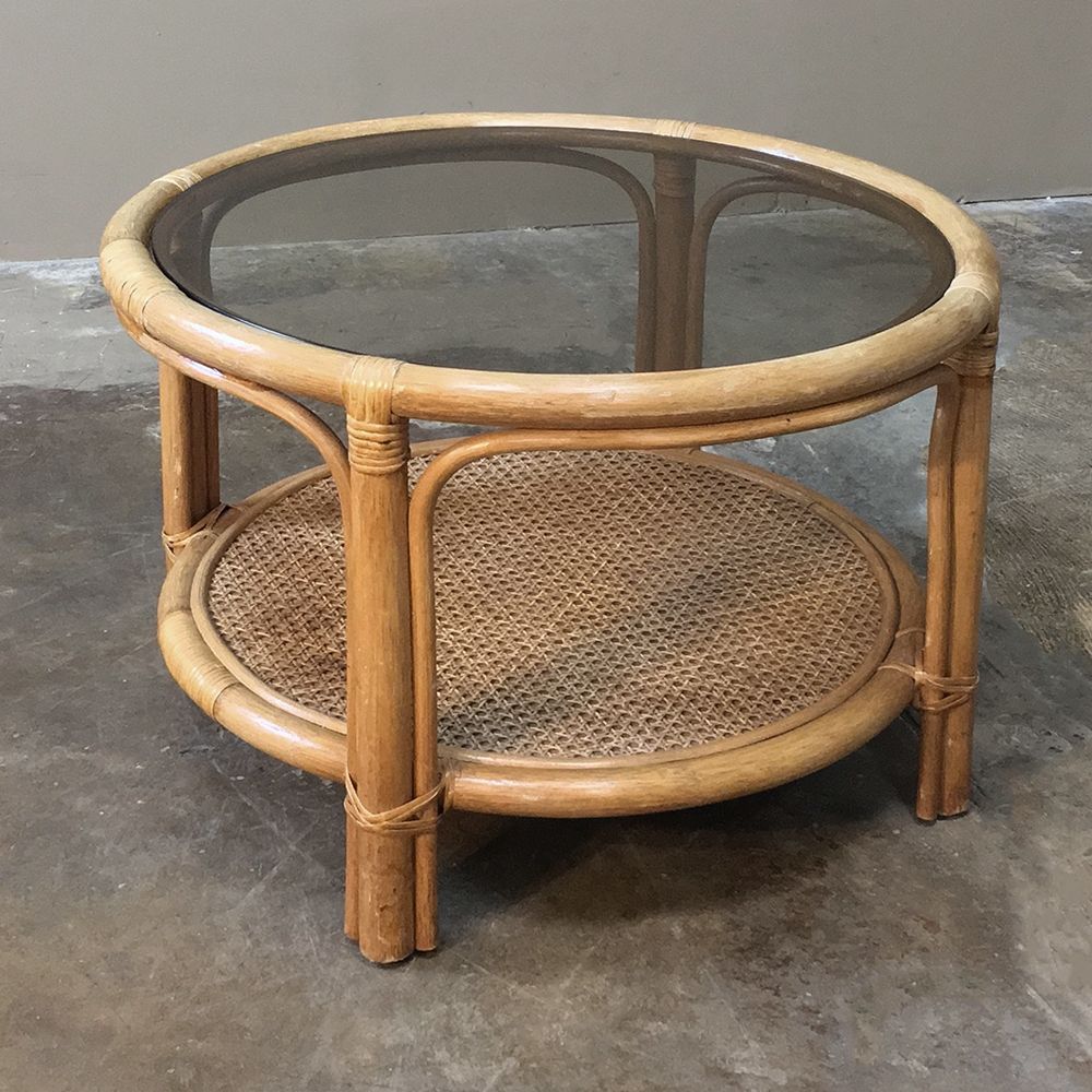 mid century rattan coffee table with glass top end tables saarinen brown sofa carpet color west elm country cocktail macys kitchen and chairs small antique marble coupon code