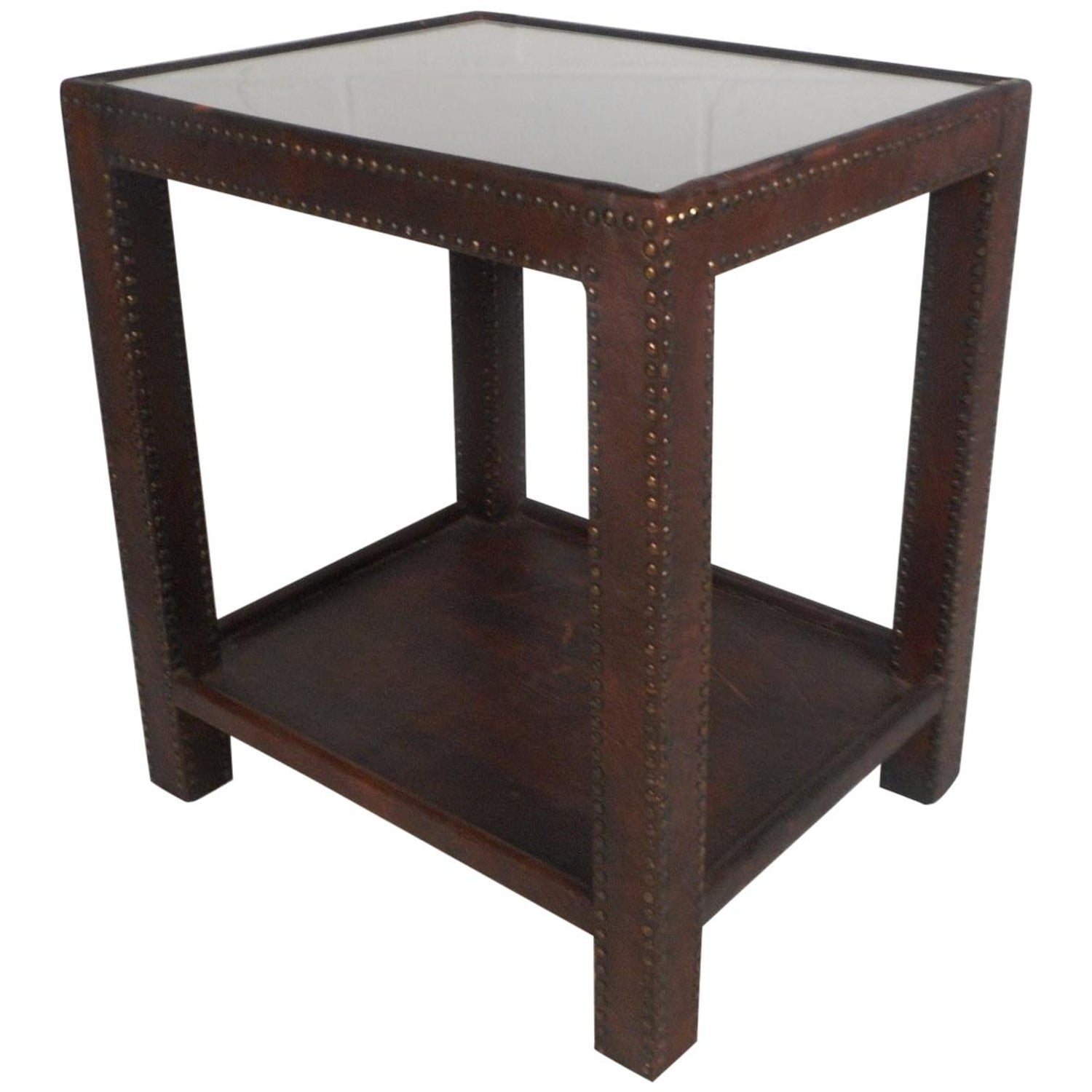 midcentury leather studded end table for master brown tables high top behind couch broyhill collections teak coffee toronto lucite accent with wheels small chinese laura ashley