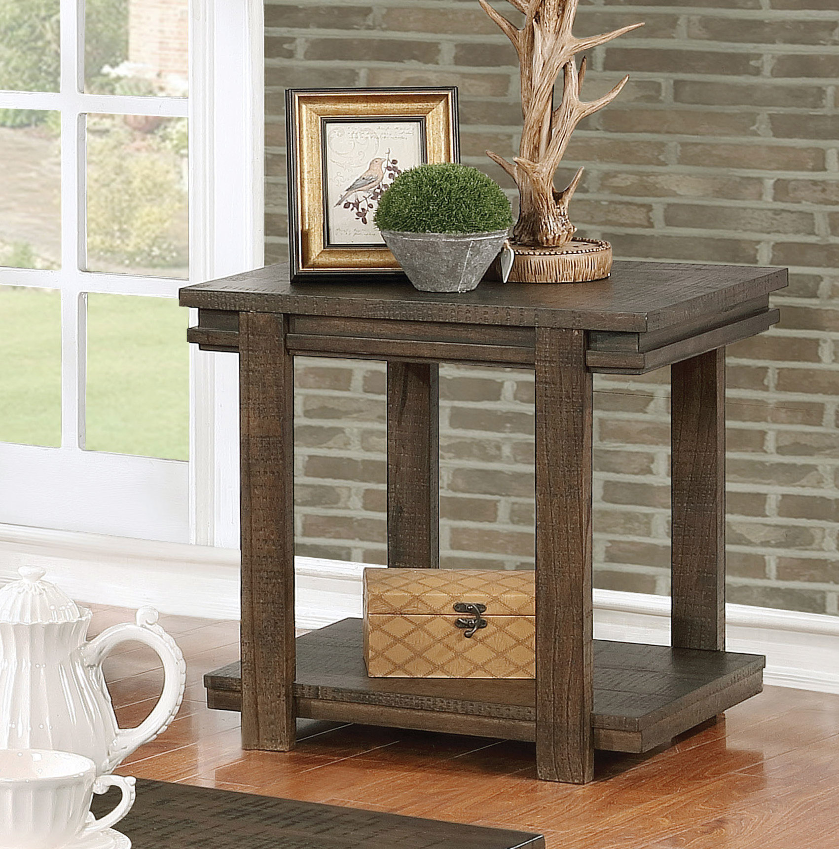 millwood pines stackhouse rustic end table reviews tables furniture row corporate office small sitting room design genuine leather black sofa simple behind couch ikea kmart