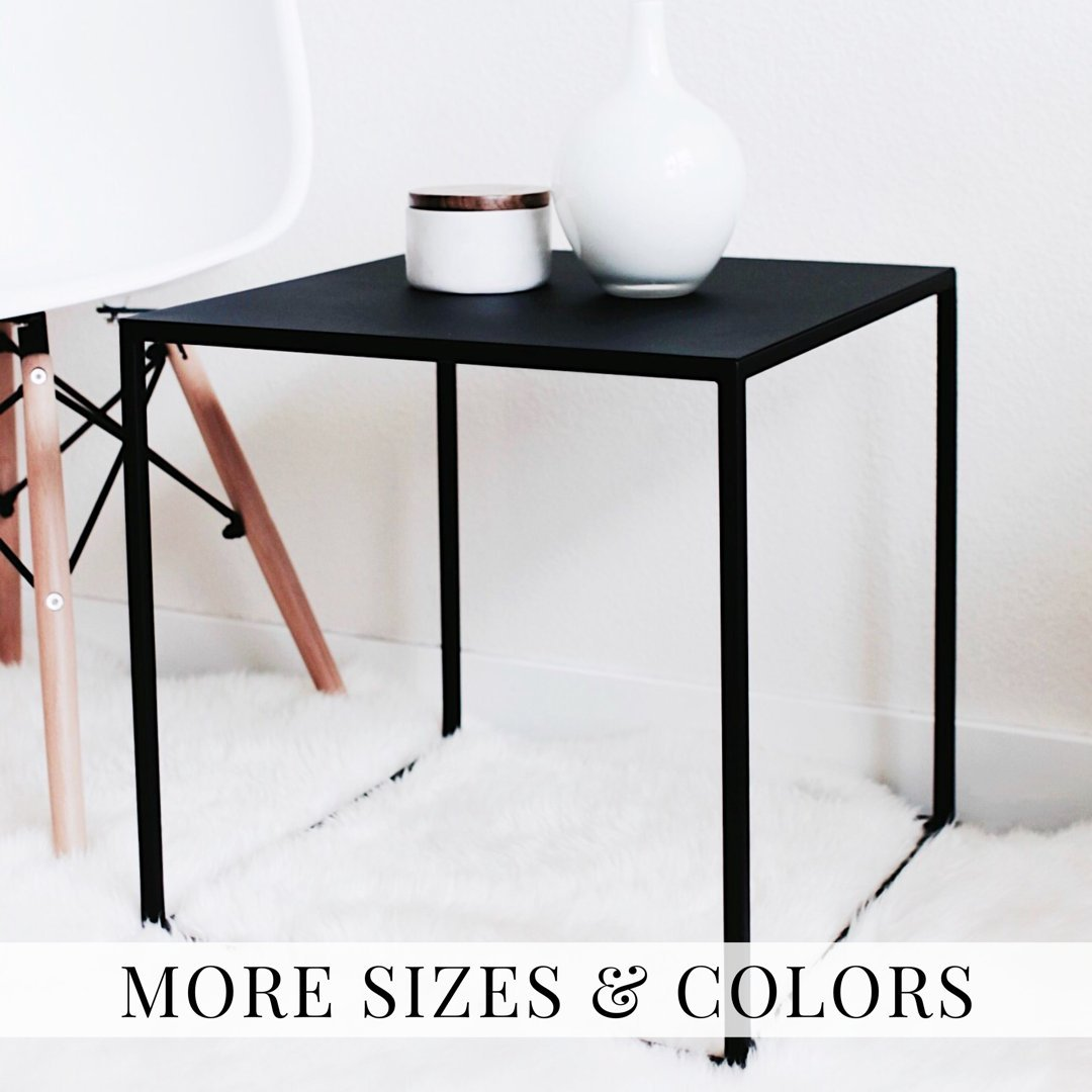 minimal black cube shaped side table stool end nightstand handmade brown leather accent chair broyhill furniture dresser plexiglas free standing bathroom units round coffee tables