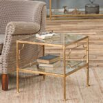 miriam hollywood regency gold leaf iron glass shelf end table product view full size pipe decor black genuine leather couch mirrored furniture for less whalen computer return desk 150x150