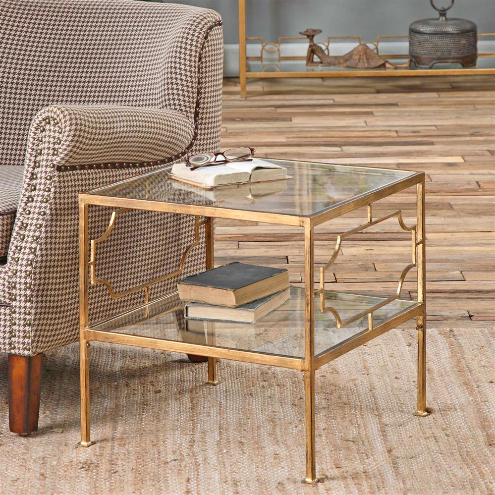 miriam hollywood regency gold leaf iron glass shelf end table product view full size pipe decor black genuine leather couch mirrored furniture for less whalen computer return desk