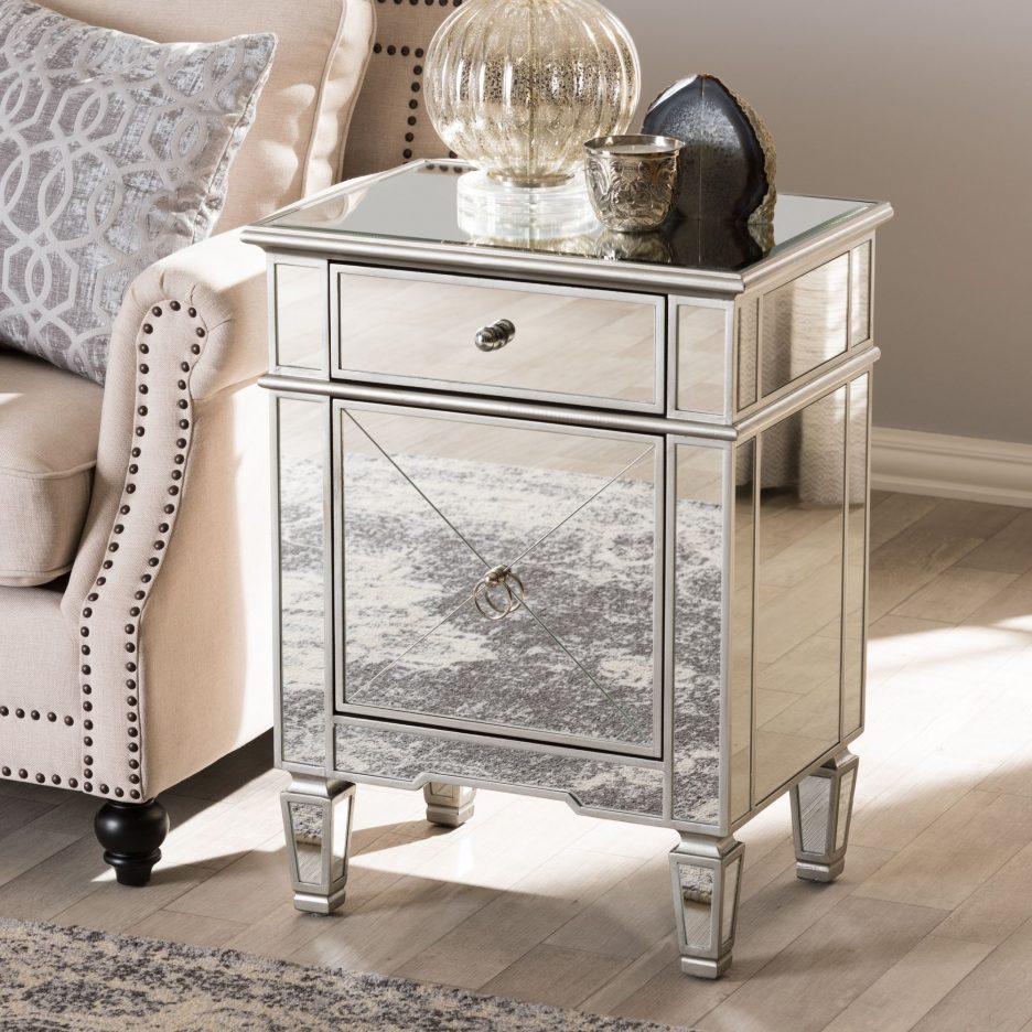 mirrored glass bedroom furniture silver chest end tables nightstands shipping boxes leick laurent table brown saltman dresser gold bamboo side concrete and wood contemporary metal