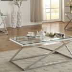 modern coffee end set with bright silver chromed altra table and tables piece finished frame supports the clear tempered glass tabletops kitchen dining walden furniture company 150x150