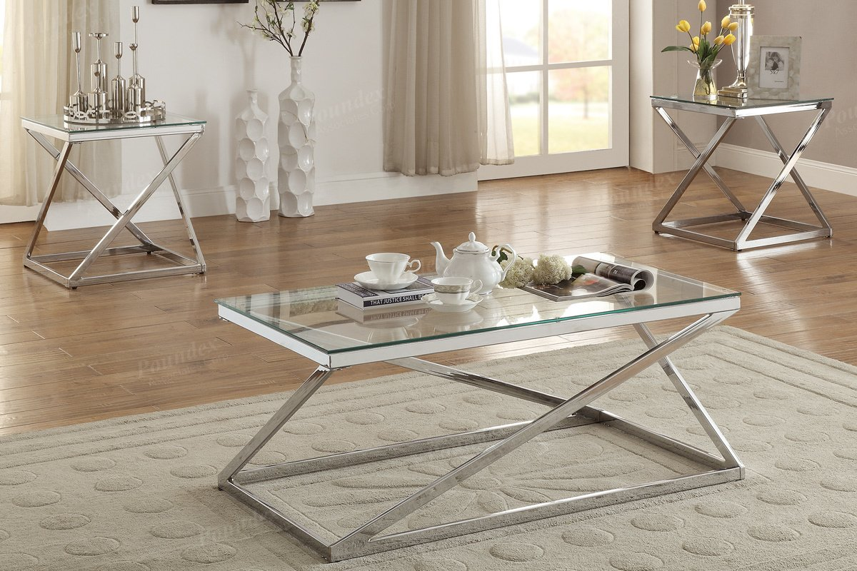 modern coffee end set with bright silver chromed altra table and tables piece finished frame supports the clear tempered glass tabletops kitchen dining walden furniture company