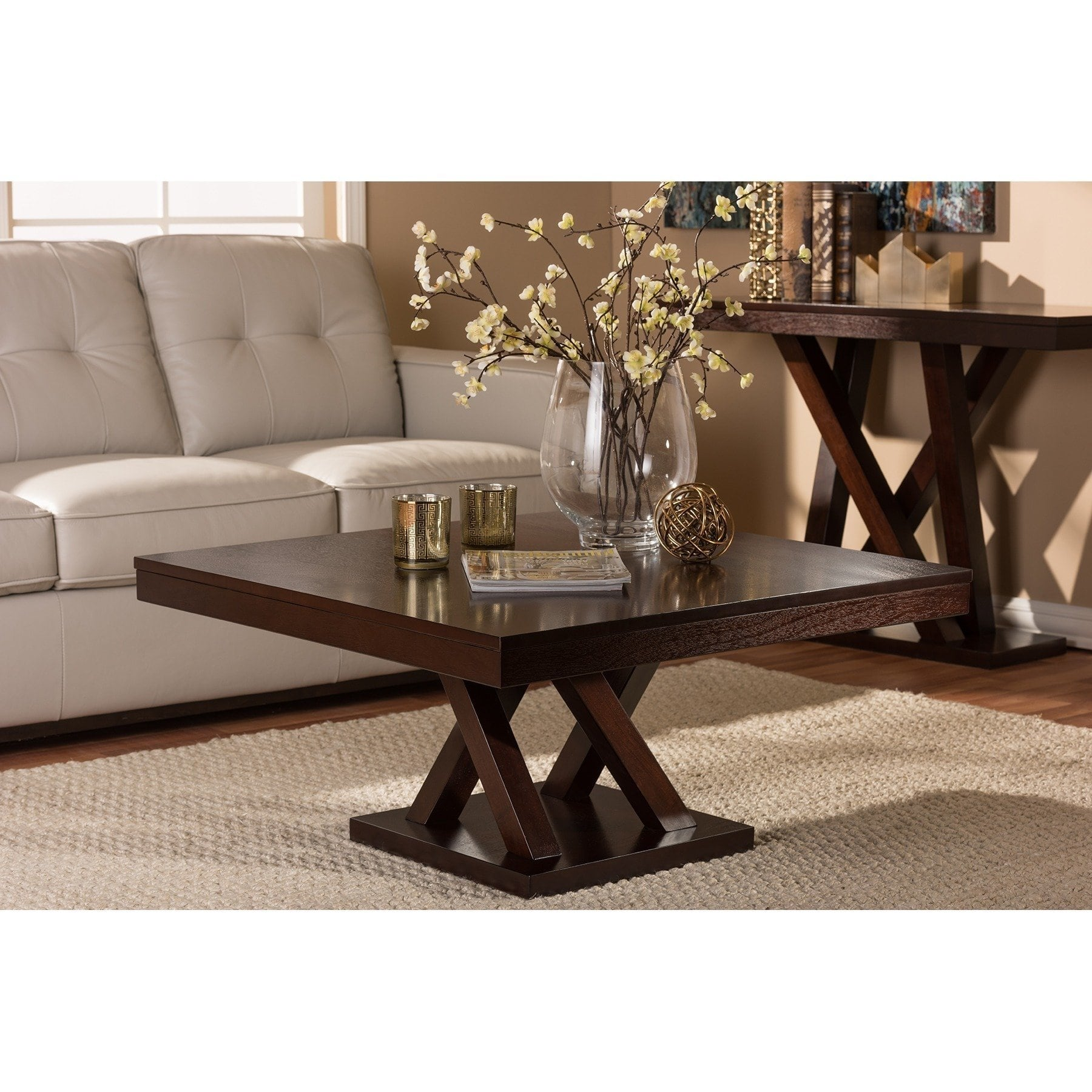 modern dark brown coffee table baxton studio free shipping everdon and end tables extra large patio furniture square primitive best slipcovered sofas ethan allen signature firm