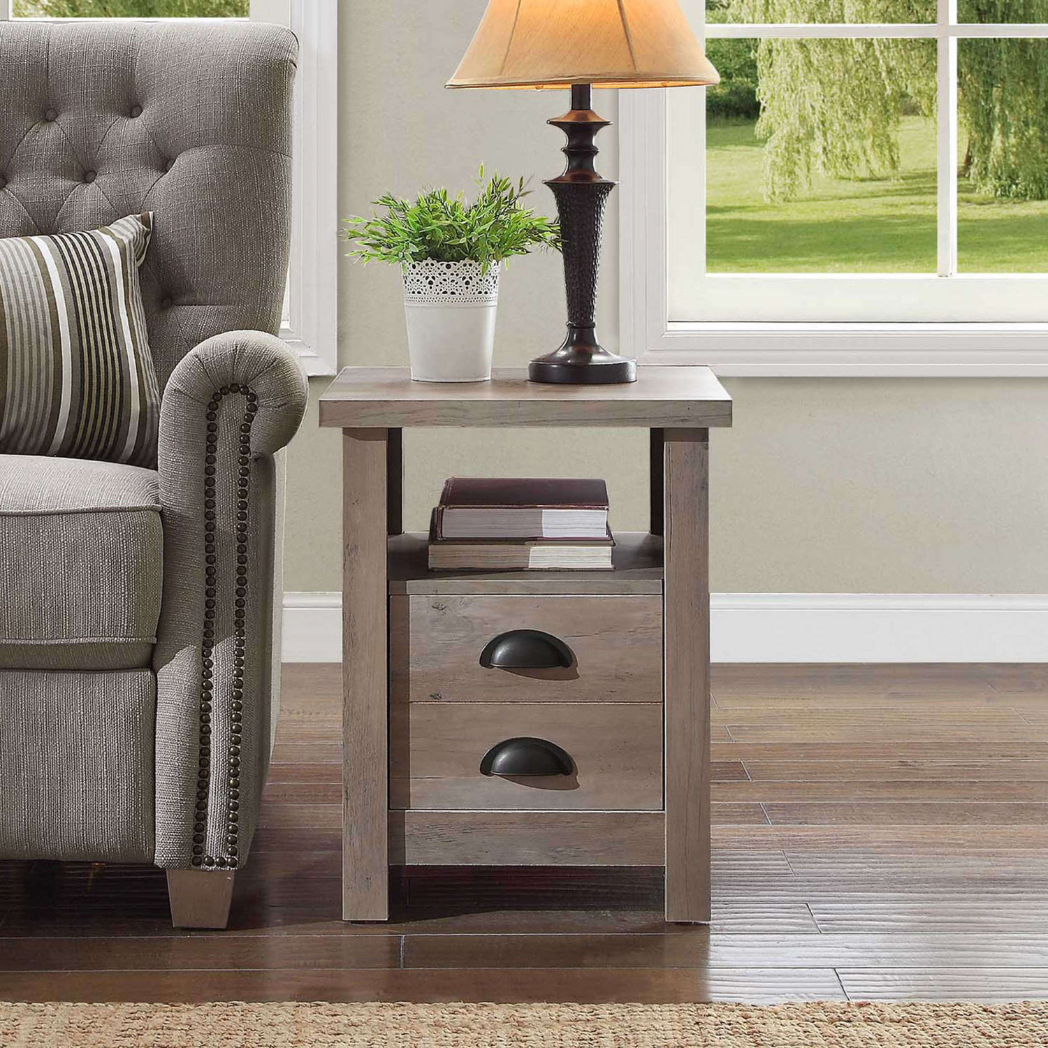 modern farmhouse end table living room rustic gray storage drawer better homes and gar res tables details about mirrored nightstand where ethan allen furniture made cherry