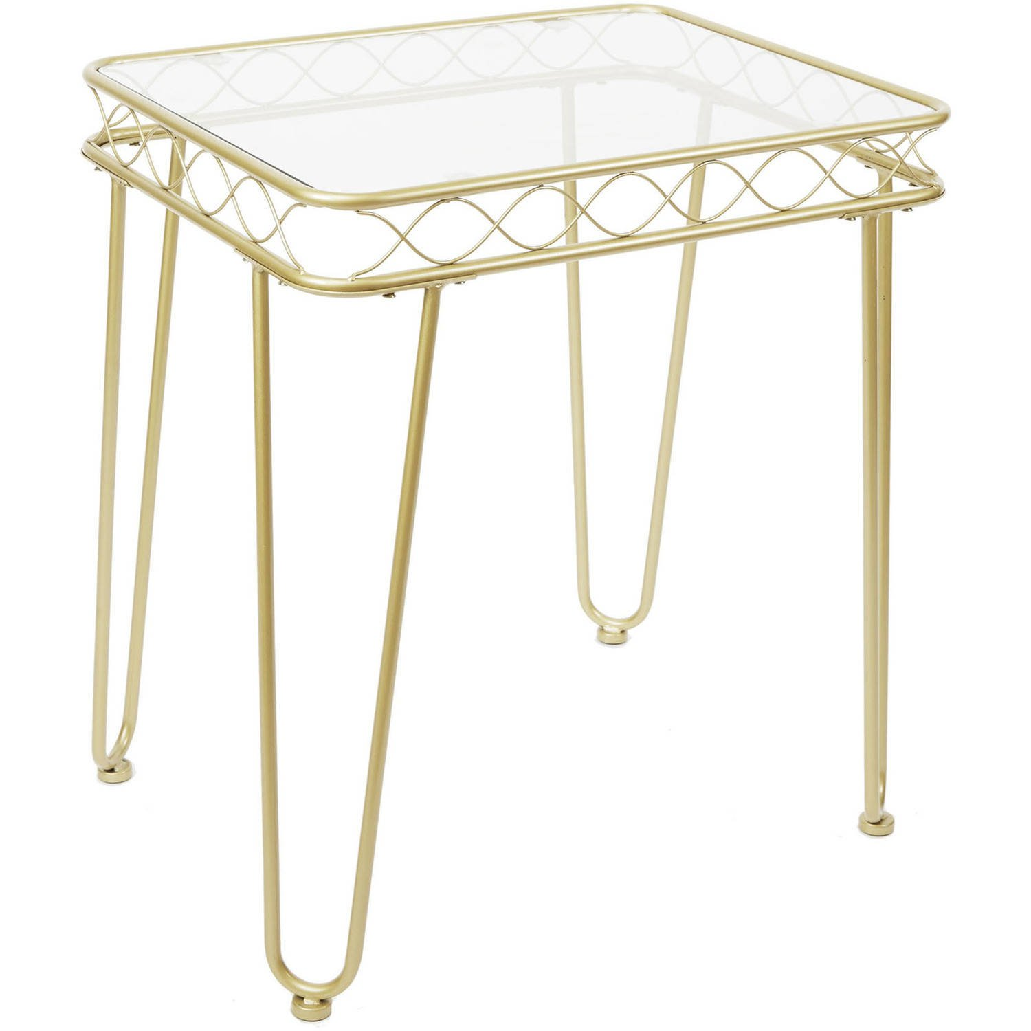 modern glam metallic gold metal glass end table rectangular accent for living room kitchen dining base coffee best homesense furniture easy nightstand plans wood tables