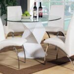 modern round white high gloss clear glass dining table chair end extending and ethan top set liberty furniture big lots office chairs powell kids kmart swing accessories rustic 150x150