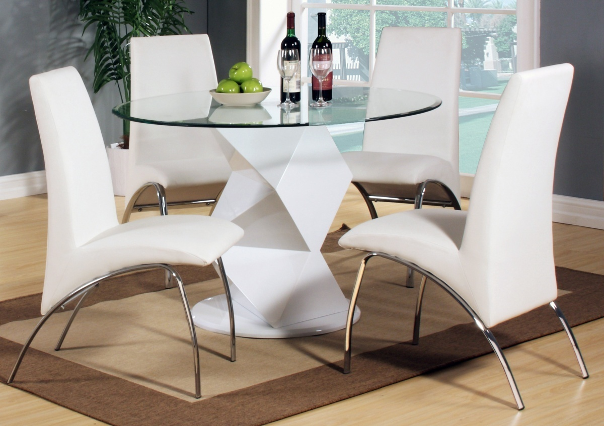 modern round white high gloss clear glass dining table chair end extending and ethan top set liberty furniture big lots office chairs powell kids kmart swing accessories rustic
