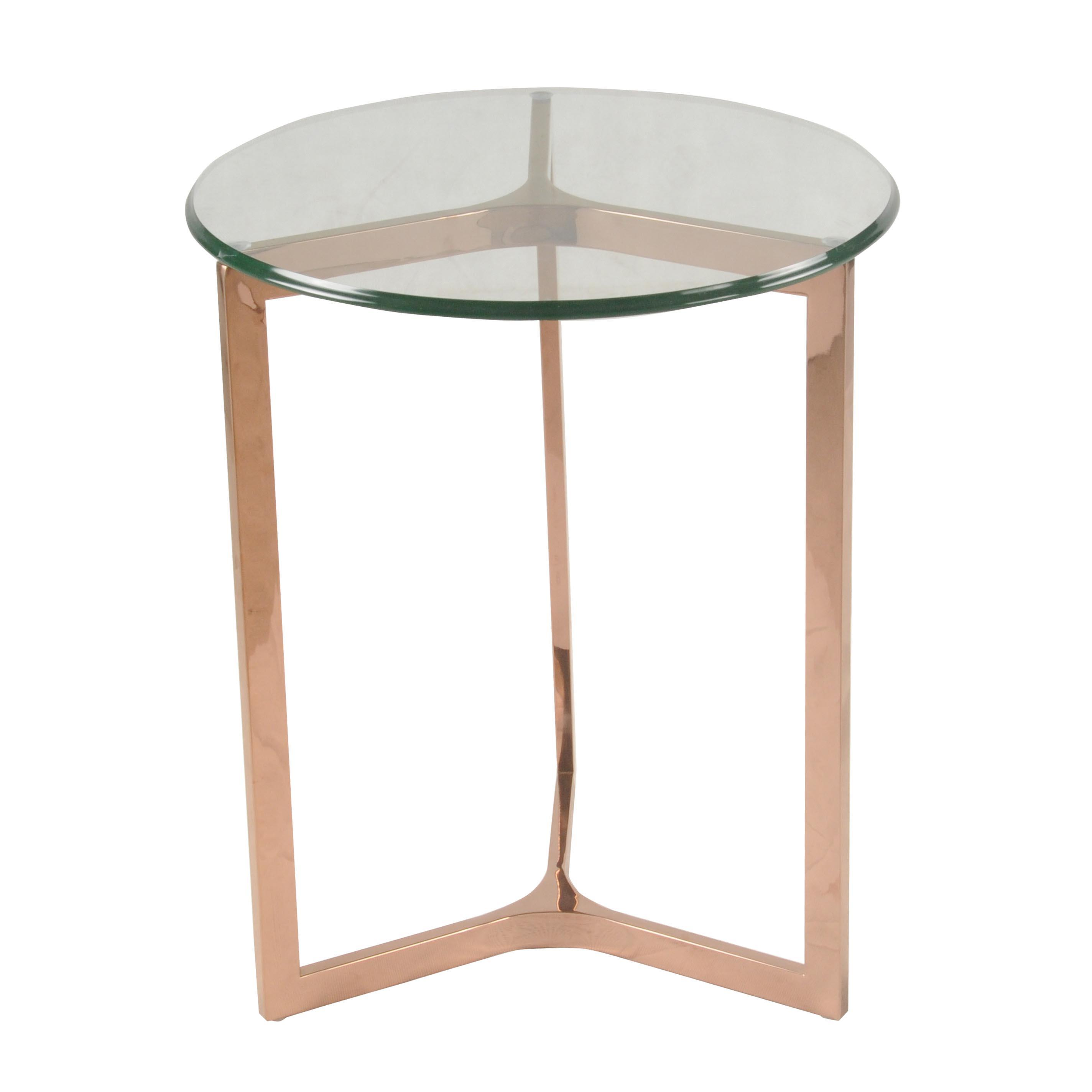 monza round end table glass top rose gold boulevard urban living tables with what color paint goes brown sofa pet kennel crate log slice furniture ashley leather set traditional