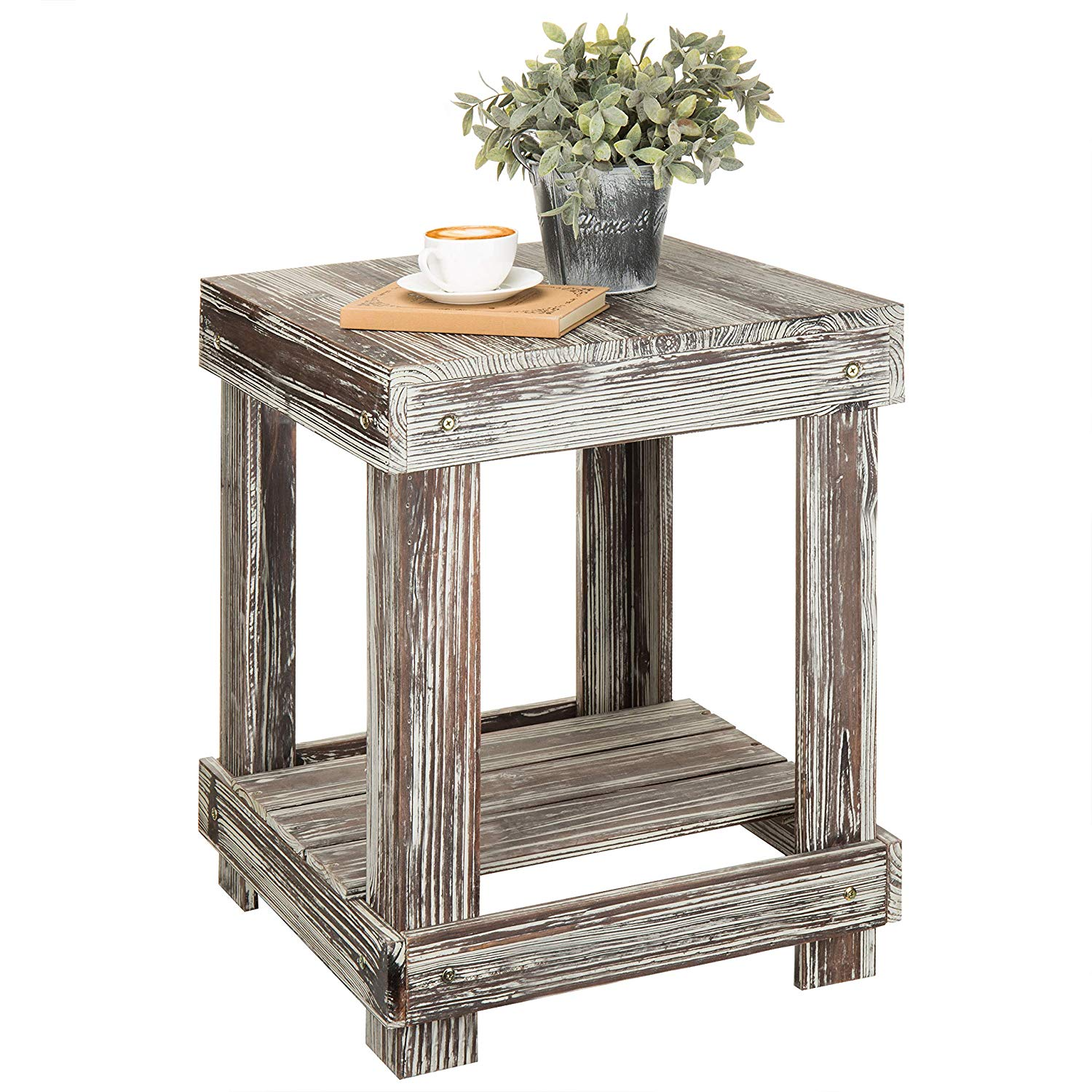 mygift rustic torched wood tier accent end table dark tables kitchen dining galvanized pipe thomasville furniture direct from gold side kmart wide sofa dog travel crate homesense