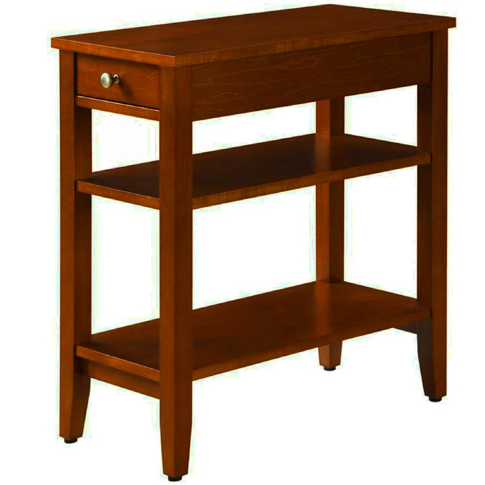 narrow end table for small places with drawer and cherry wood tables shelves wooden brown classic modern tiered chairside sofa couch side living room essentials tier shelving unit