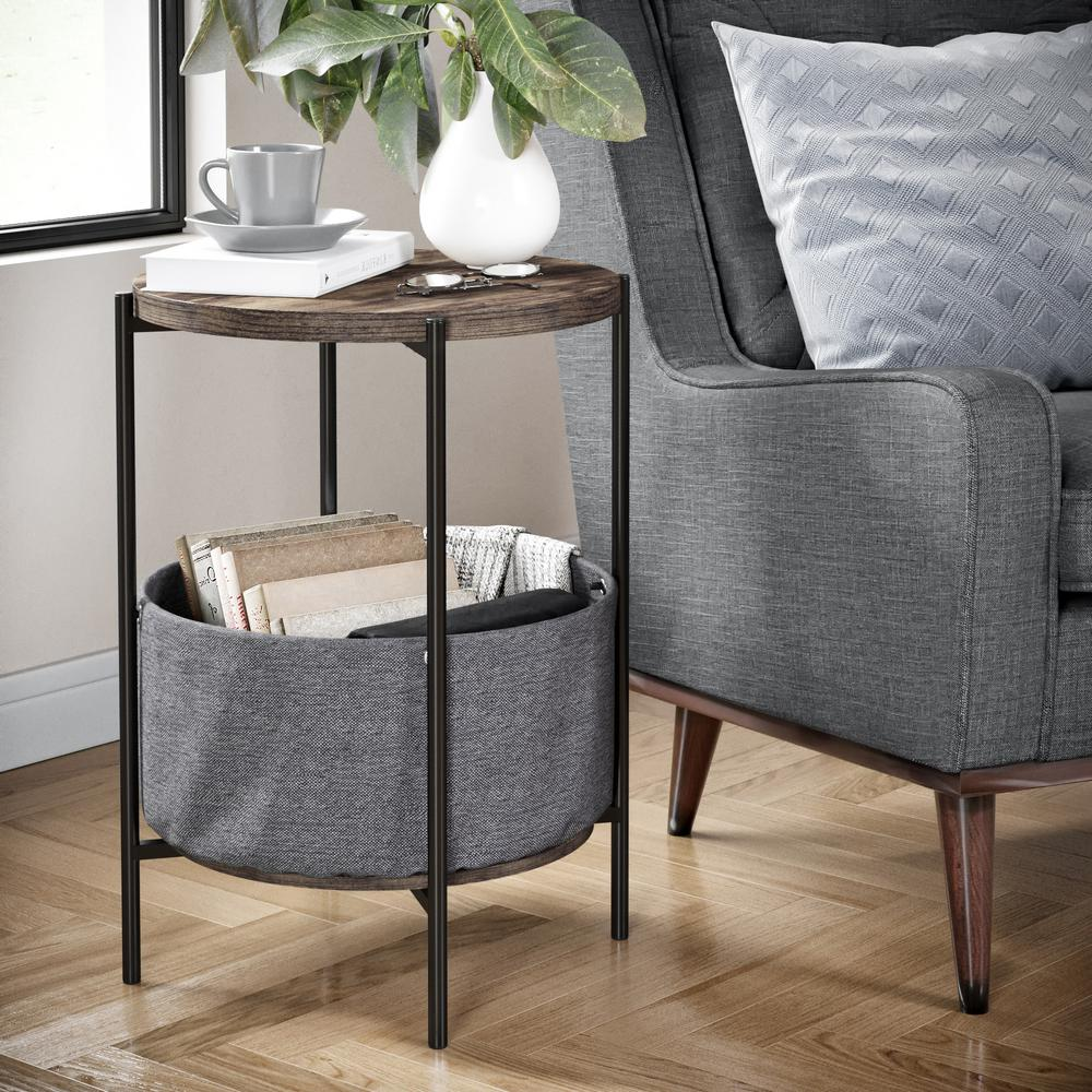 nathan james oraa nutmeg and black metal frame side table with end tables basket storage dark cherry coffee dog cage rustic garden furniture row portland allen taupe sofa