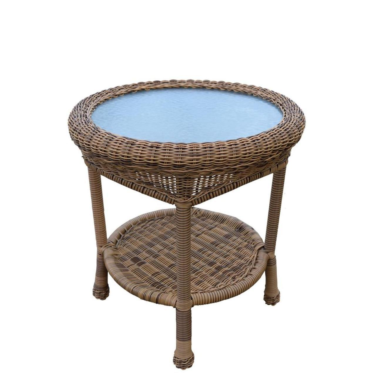 natural brown two level resin wicker end table with glass top tables outdoor living the brick sofa unfinished oak office furniture leick shaker coffee ethan allen country french