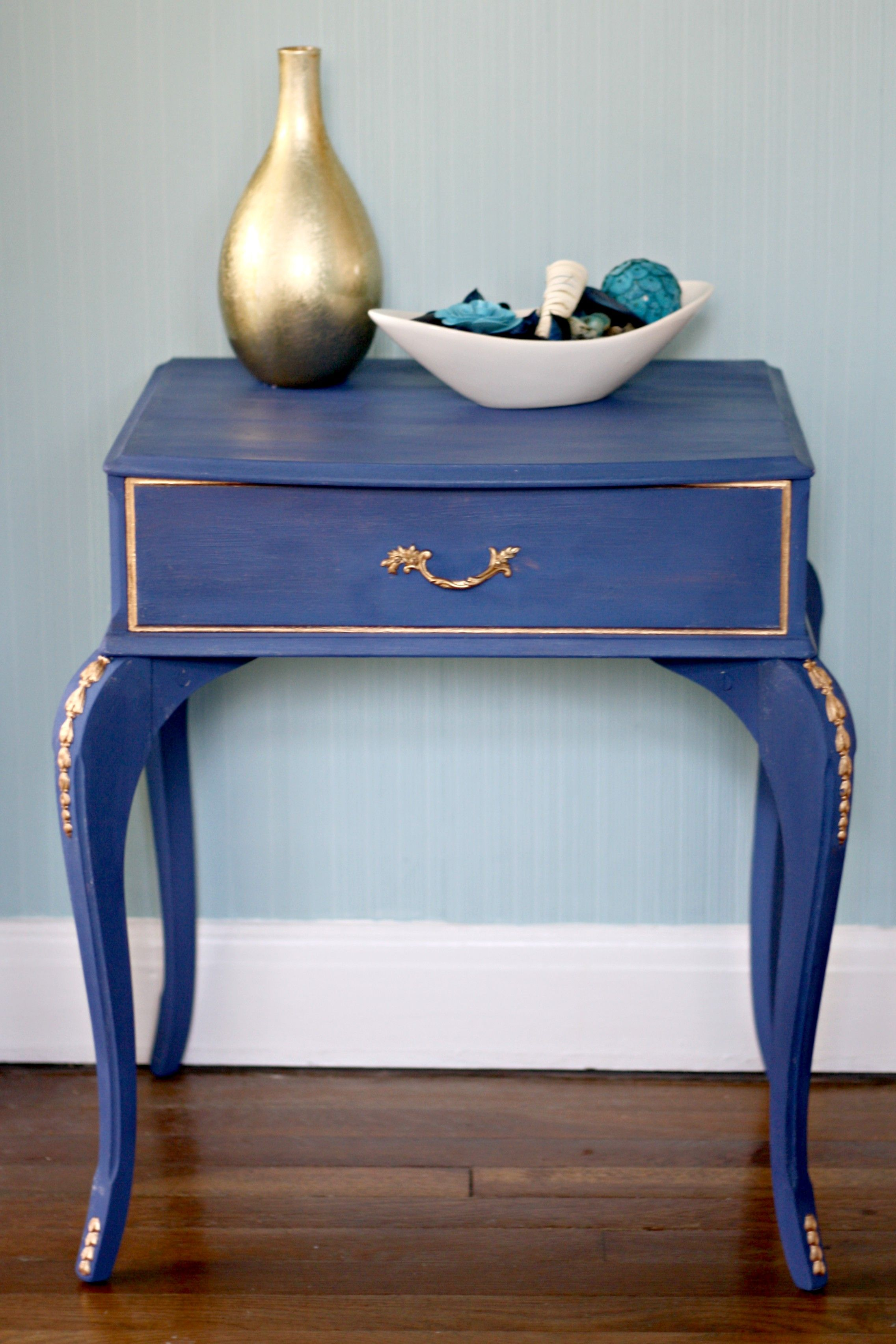 navy and gold end table upcycle blue turquoise painted tables propane fire pit powell monster bedroom furniture crown dog crate dining with chairs nightstand whalen industrial