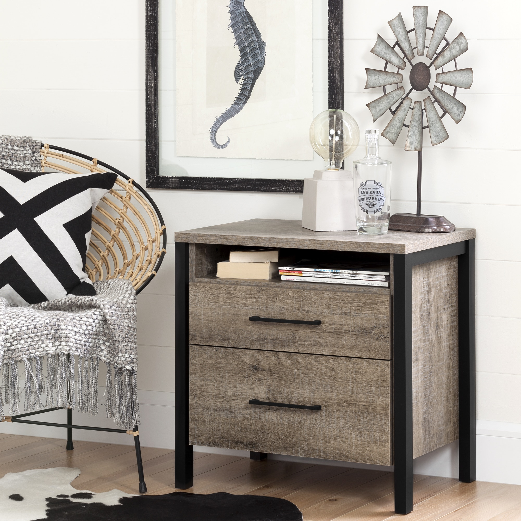 night stand table bedside end wood weathered oak drawer south shore munich laminate nightstan bedroom tables details about storage living room furniture spacing ethan allen