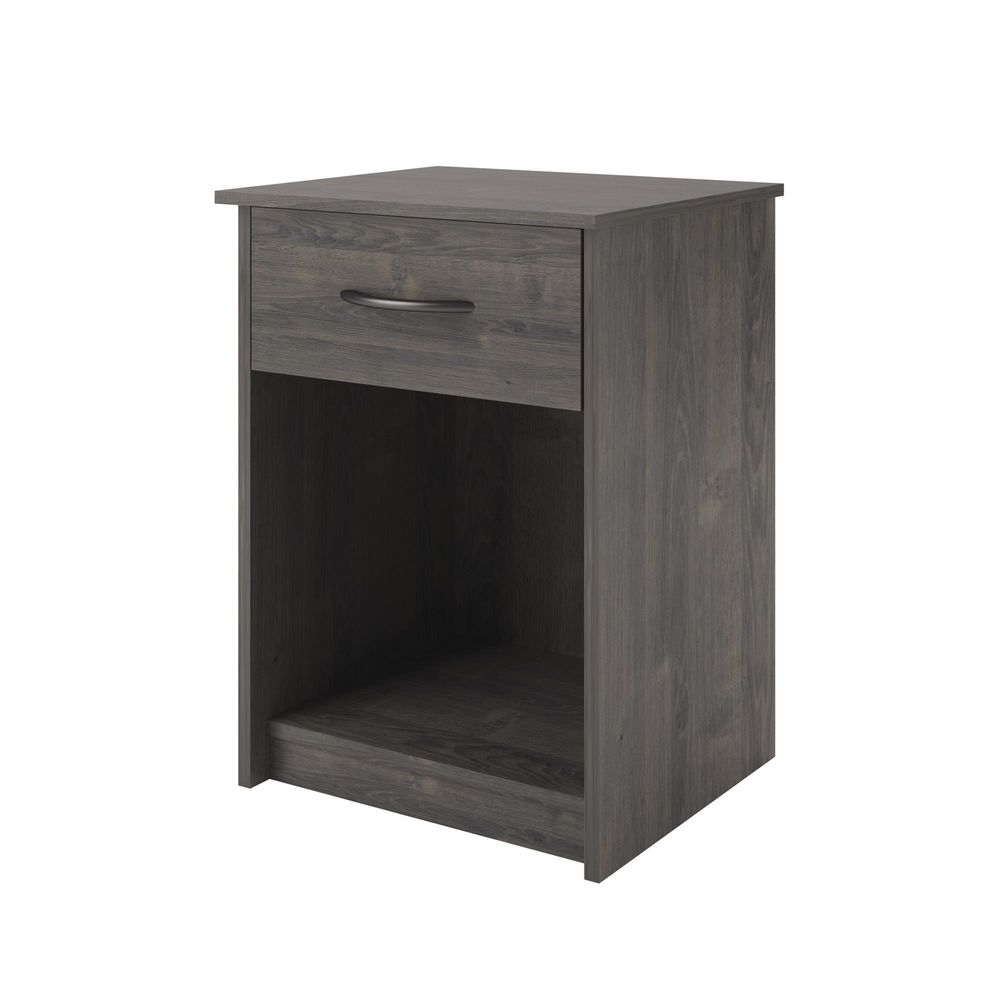 nightstand gray end table bedroom bedside furniture shelf drawer tables details about storage decor modern homemade dog kennel ideas stone coffee sofa console wood pipe side diy