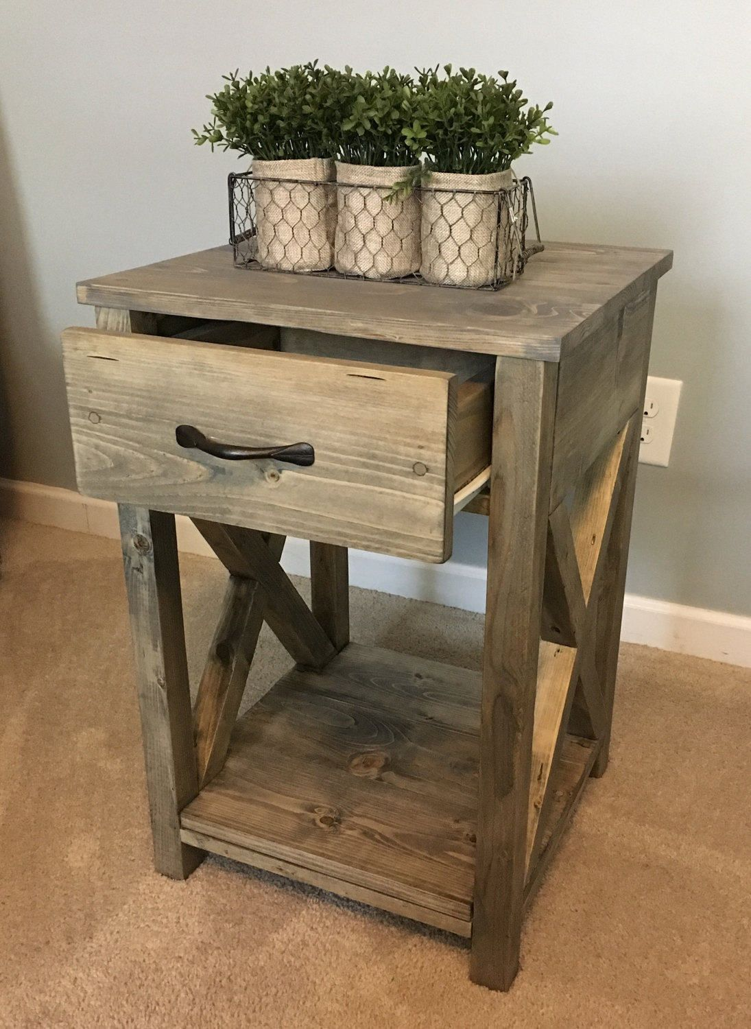 nightstand side table end for the home bedroom rustic tables diy black pipe metal wire coffee slate grey tablecloths long industrial dark brown leather lounge kmart ladies tops