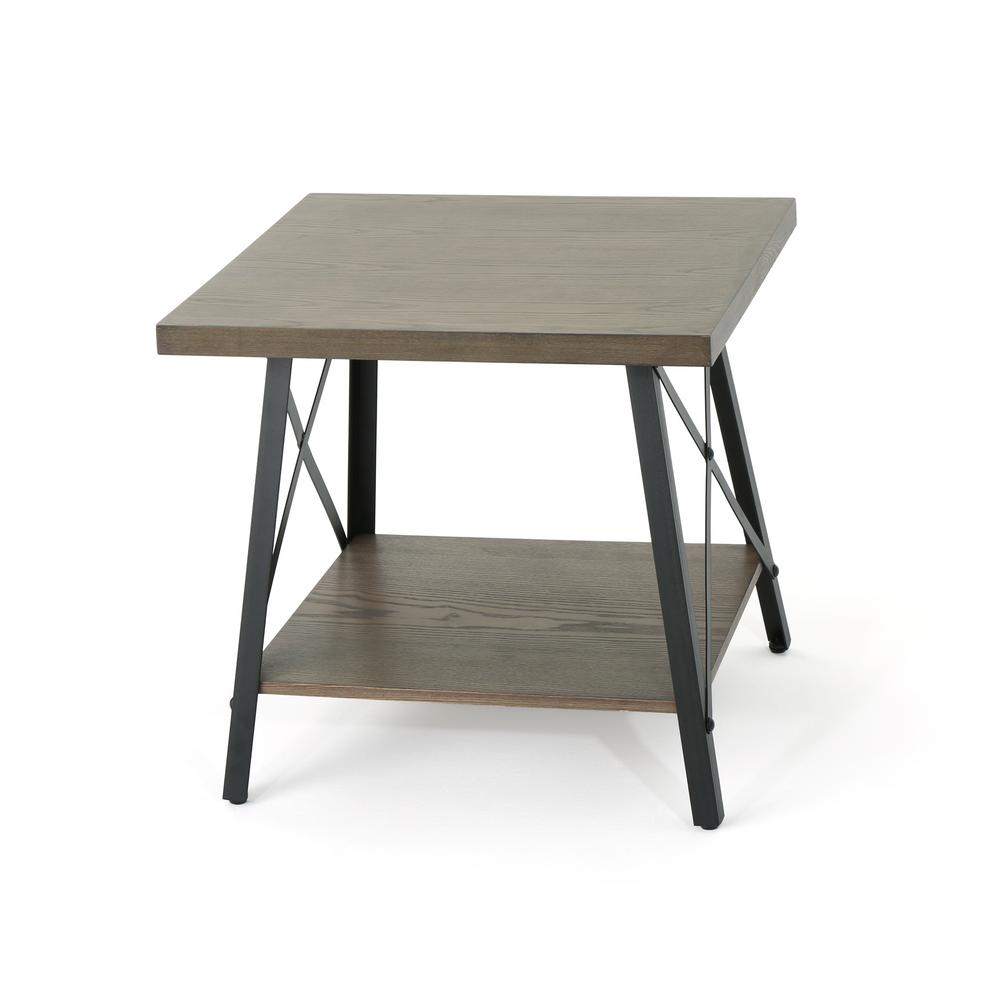 noble house camaran industrial gray toned faux wood end table with black tables iron legs ashley round clear acrylic sofa behind the storage small and narrow console powell square