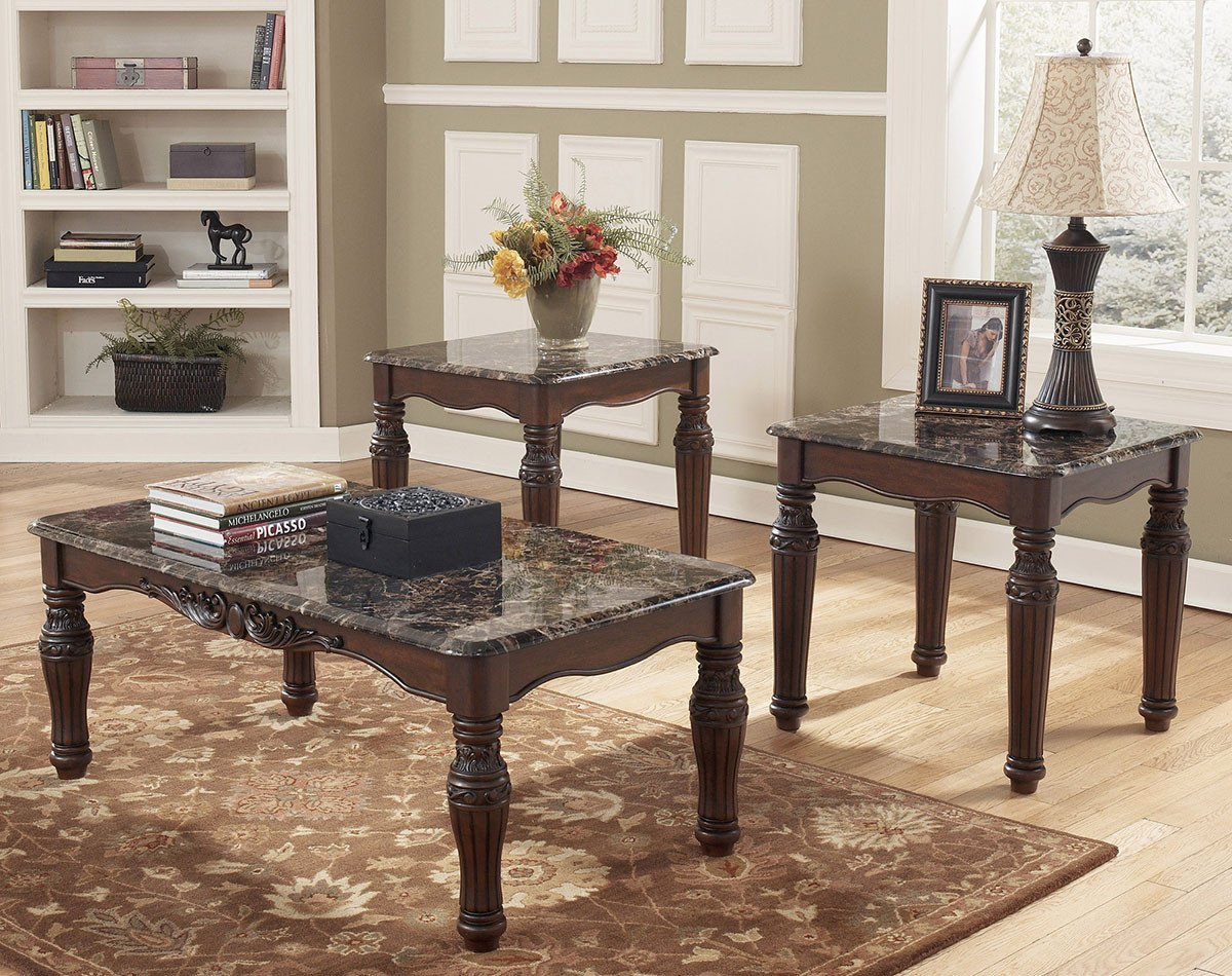 north shore faux marble coffee table set ashley furniture and end tables occasional sets toscana chairside long side with drawers dark brown living room rustic entrance target