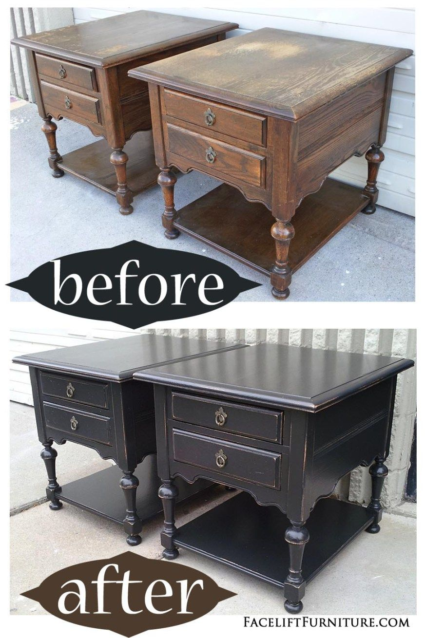 oak end tables distressed black before after home decor ethan allen from facelift furniture diy kennel can you paint over painted space between sofa and wall elana nesting set