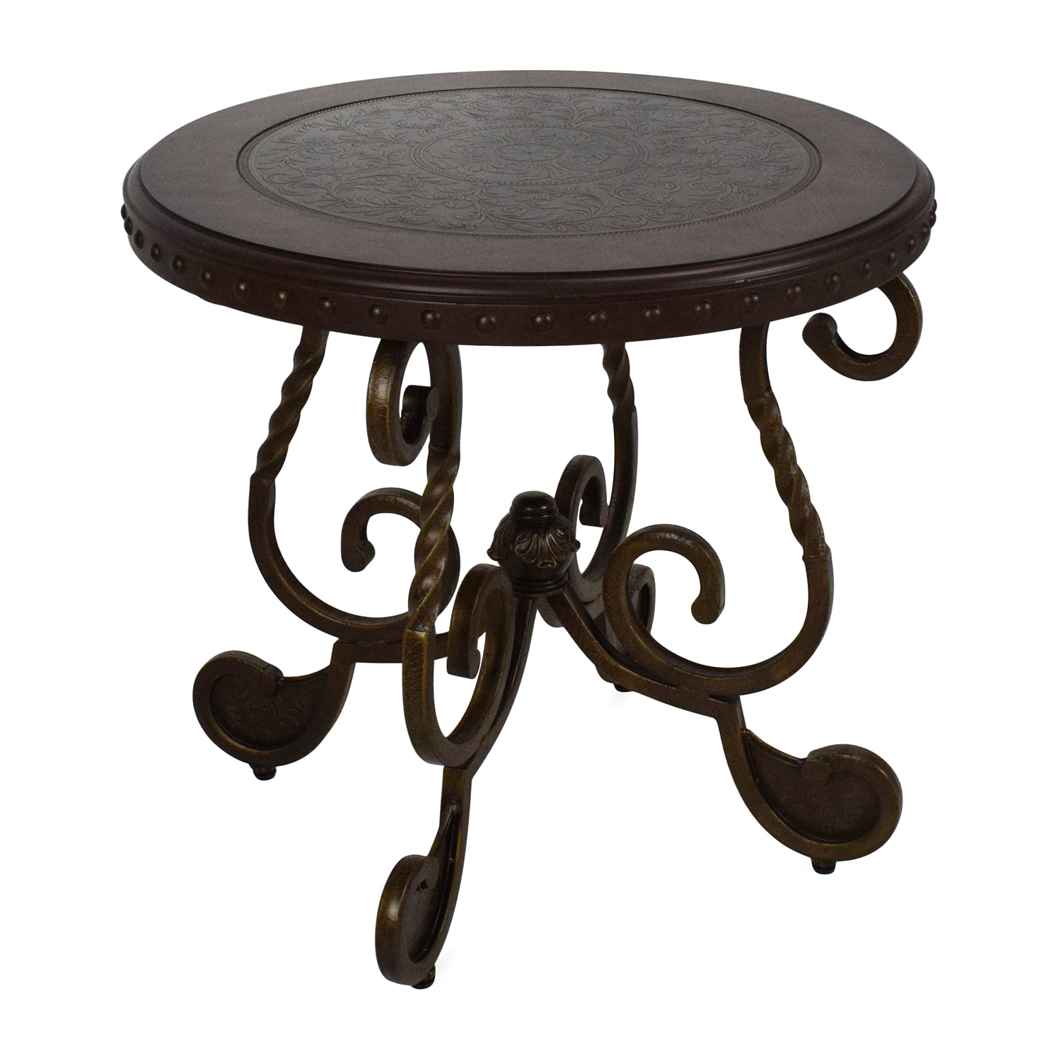 off ashley furniture rafferty round end table tables second hand liberty treasures porter dining distressed with drawers factory indoor dog crate ideas wesling coffee tall black