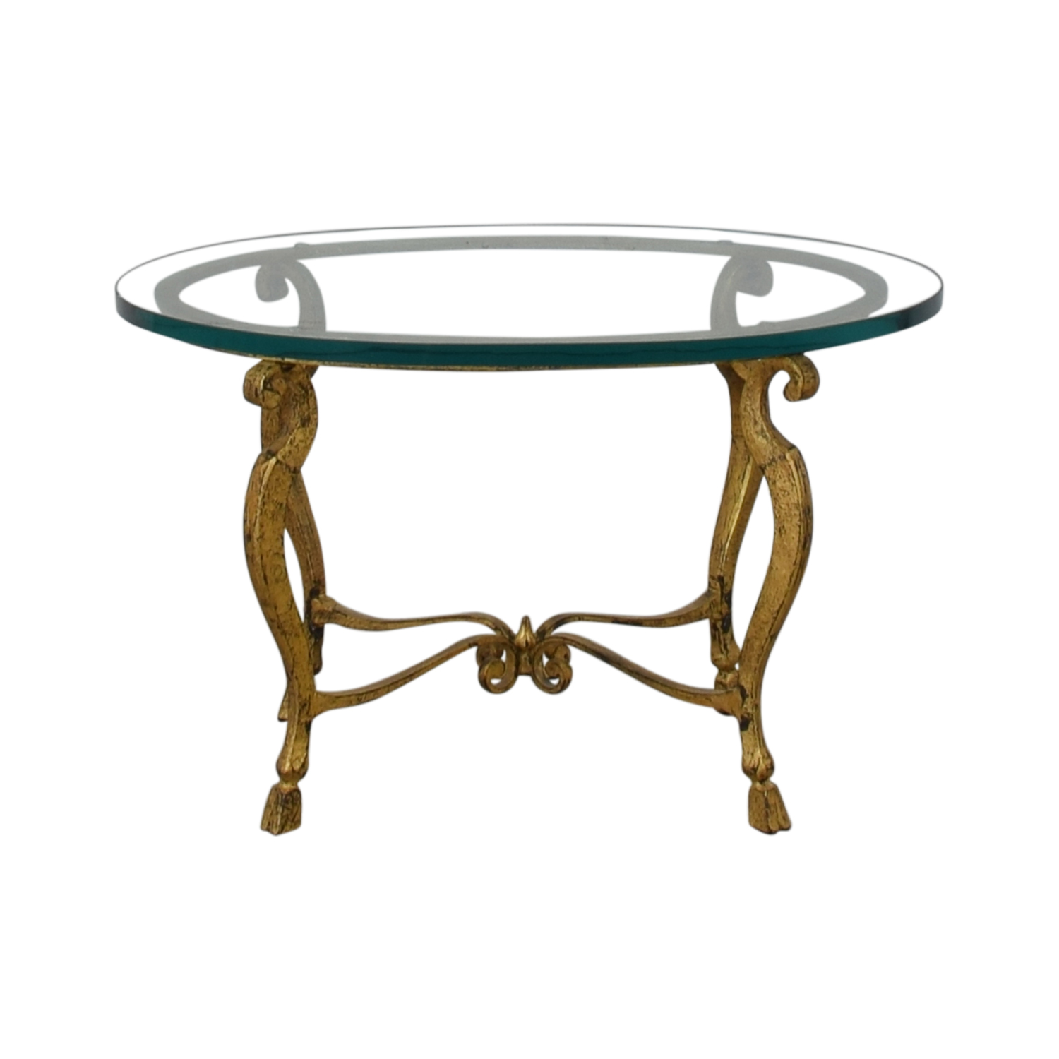 off distressed oval bronze base and glass end table tables furniture ethan allen sofa stoney creek coffee couches nightstand dresser turquoise bedside lamps dolphin style dog