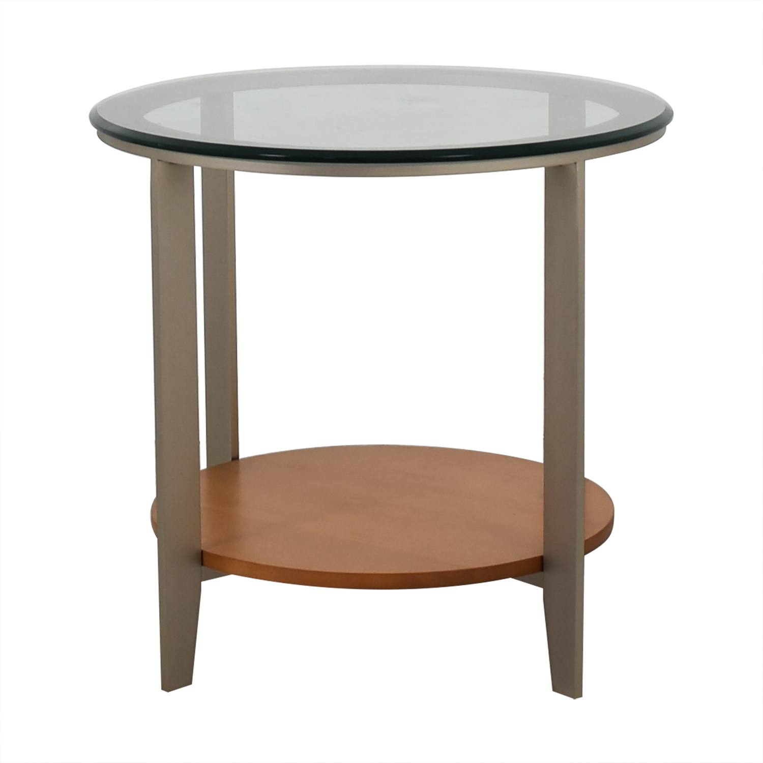 off ethan allen round glass and wood end table side with shelve black pallet coffee inch tall console furniture row address lamp magazine rack diy log ashley scarlett sofa