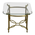 off glass top and brass base end table tables used for ashley furniture nesting plastic cube high quality bedroom brands zenith cocktail stickley scottsdale dog crate west elm 150x150