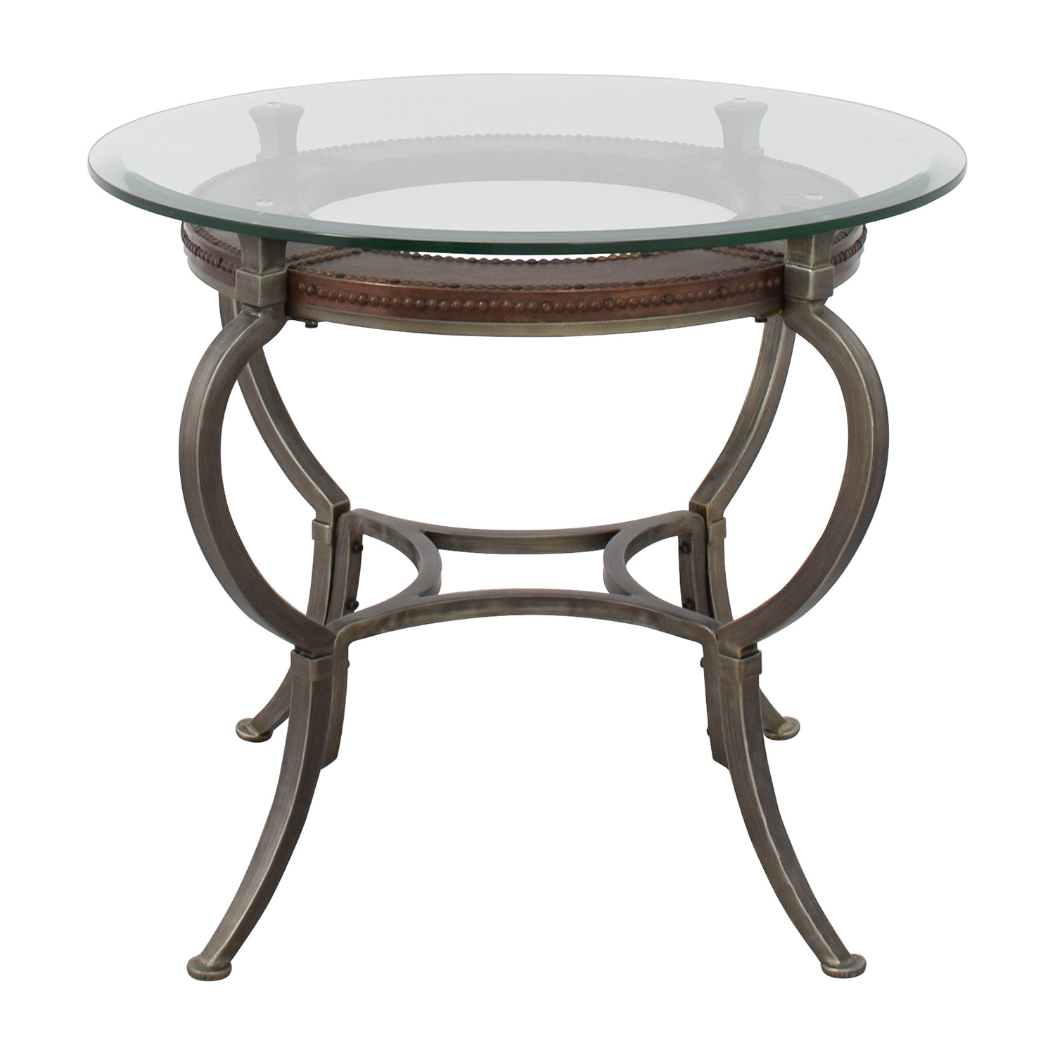 off macy artistica round glass and metal end table macys coffee tables nyc skinny sofa ikea thomasville furniture piece nesting chip gaines home garden set three acacia wood diy