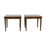 off wood gold trimmed end tables with glass protective top and stained trunk table rustic antique coffee oriental nesting bedside for bedroom ashley furniture triangle bond anti 150x150