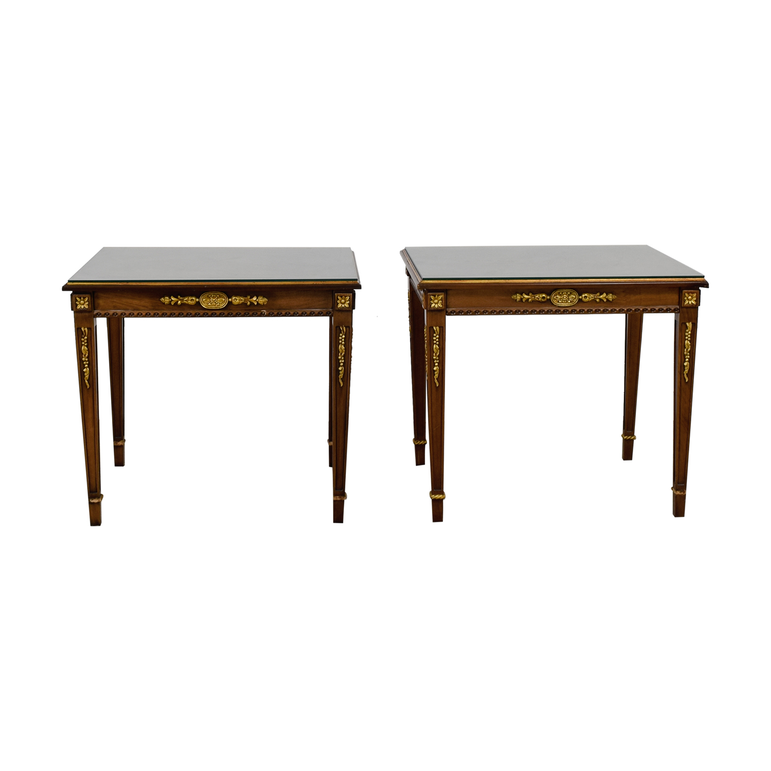 off wood gold trimmed end tables with glass protective top and stained trunk table rustic antique coffee oriental nesting bedside for bedroom ashley furniture triangle bond anti